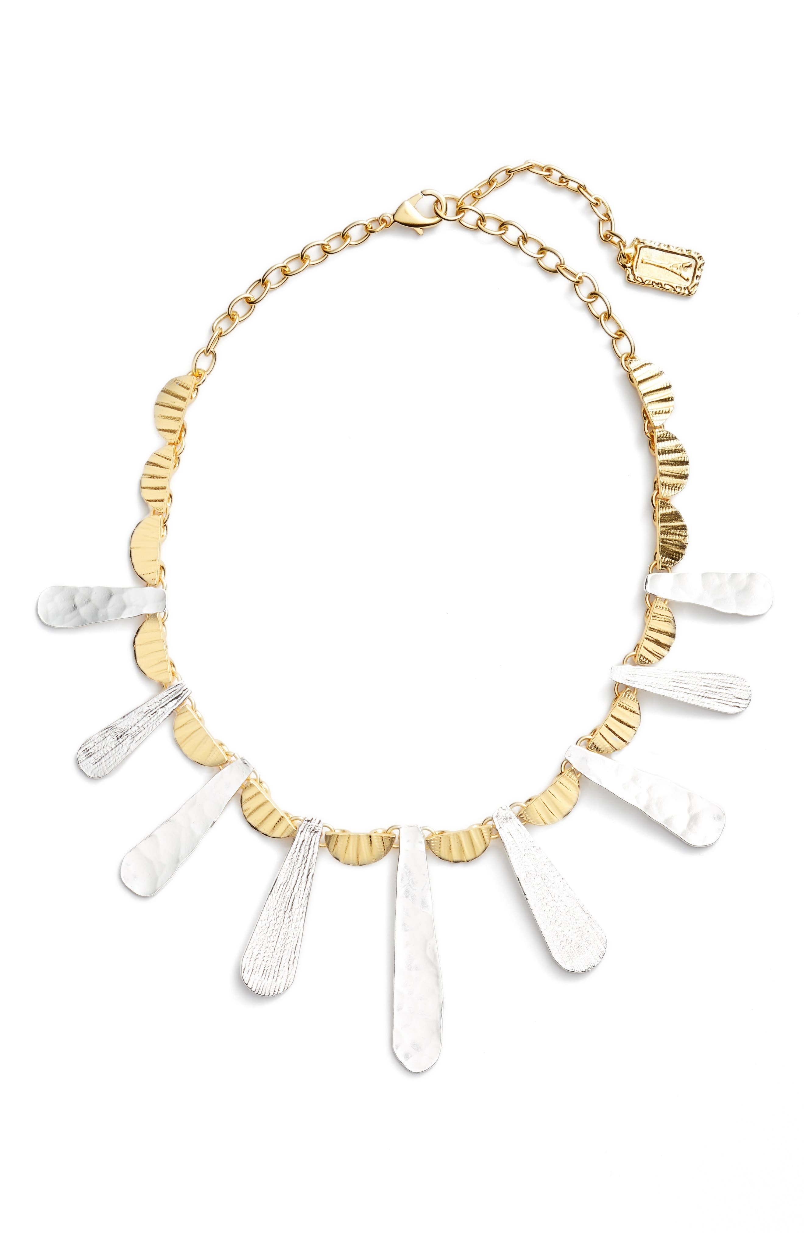 Hammered Collar Necklace,                         Main,                         color, Gold/Silver Mix