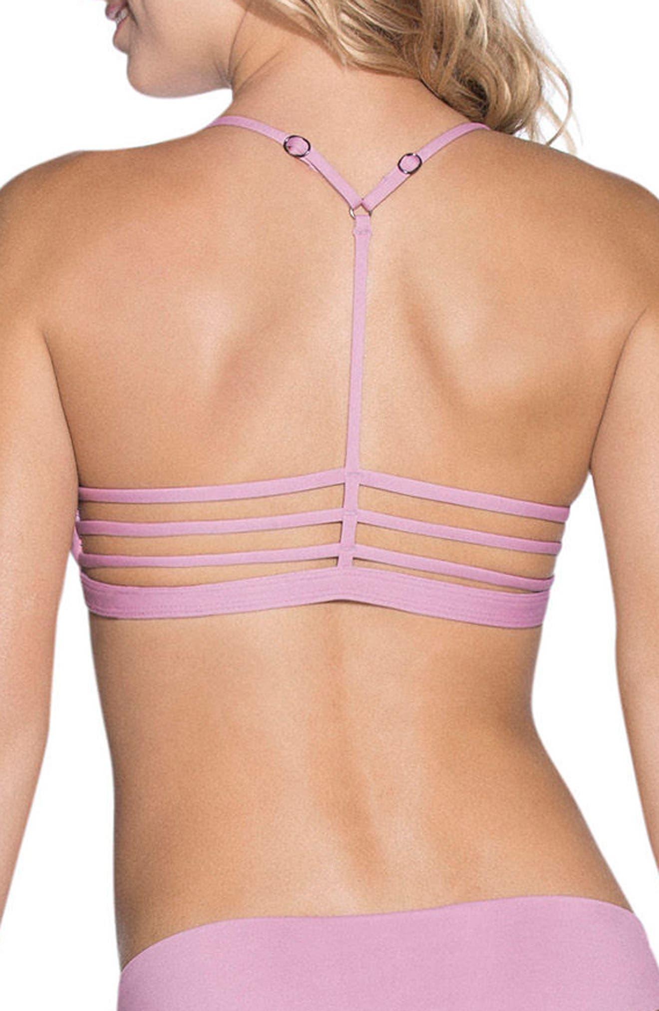 Mauve Bliss Reversible Triangle Bikini Top,                             Alternate thumbnail 3, color,                             Purple