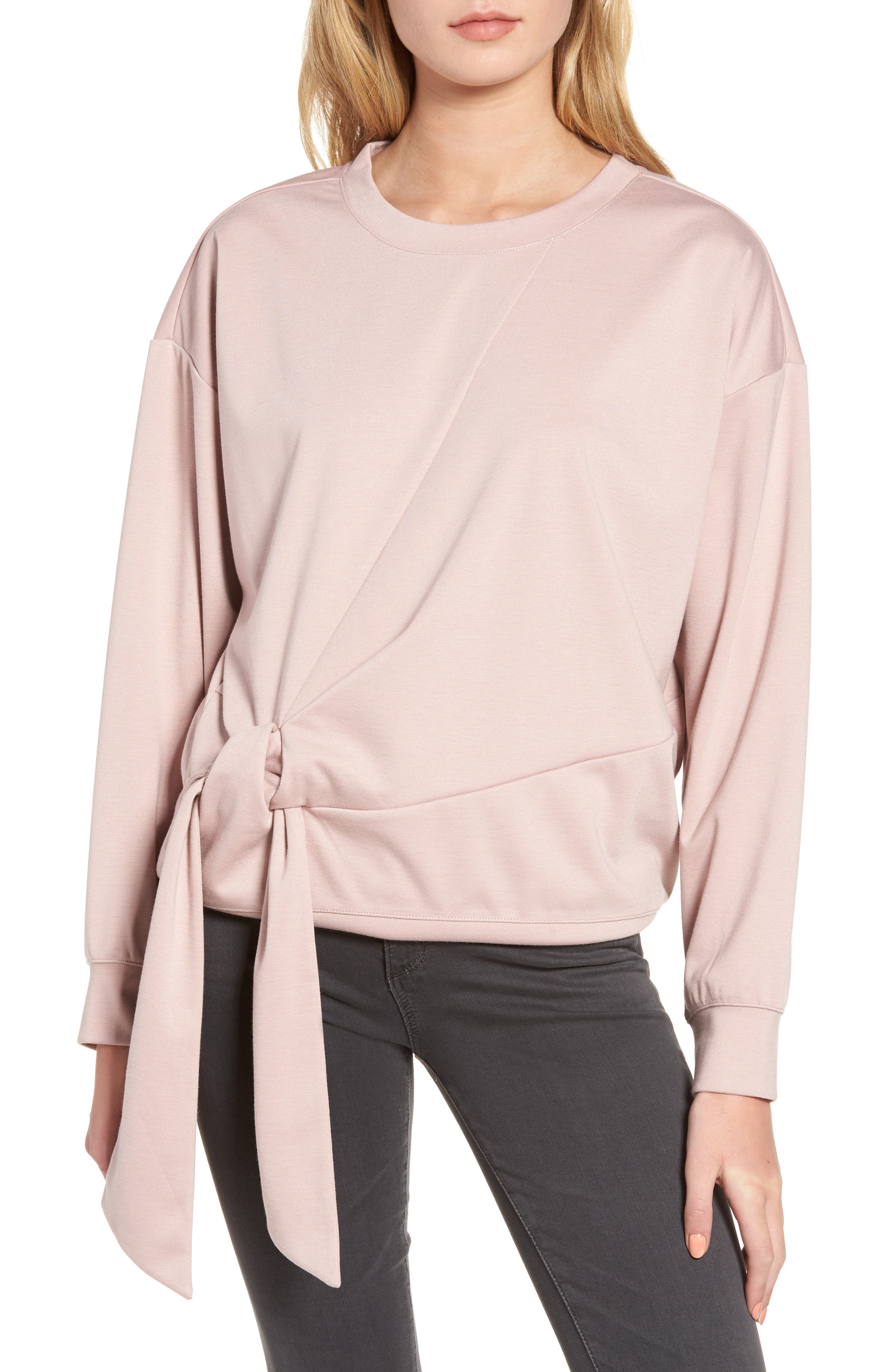 Tie Front Sweatshirt,                             Main thumbnail 1, color,                             Pink Adobe