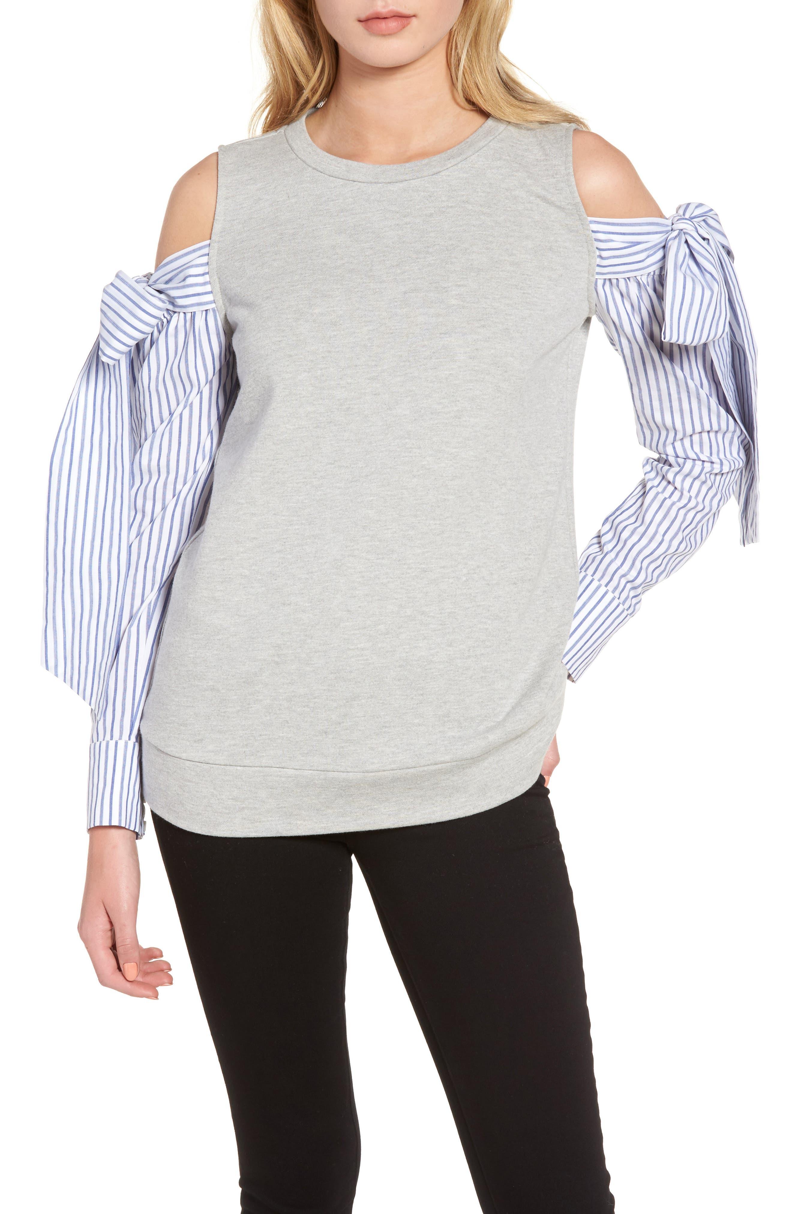 Cold Shoulder Sweatshirt,                             Main thumbnail 1, color,                             Grey Heather