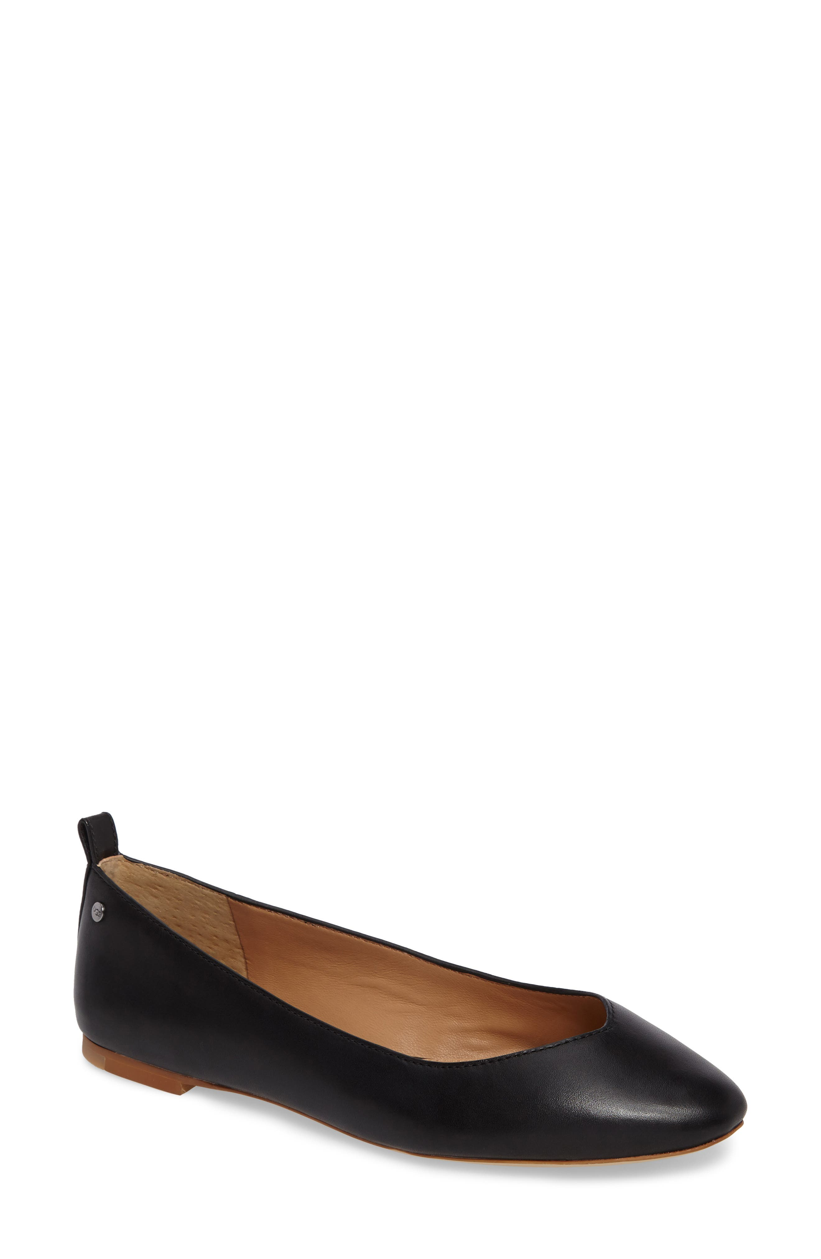 Lynley Ballerina Flat, Main, color, Black Leather