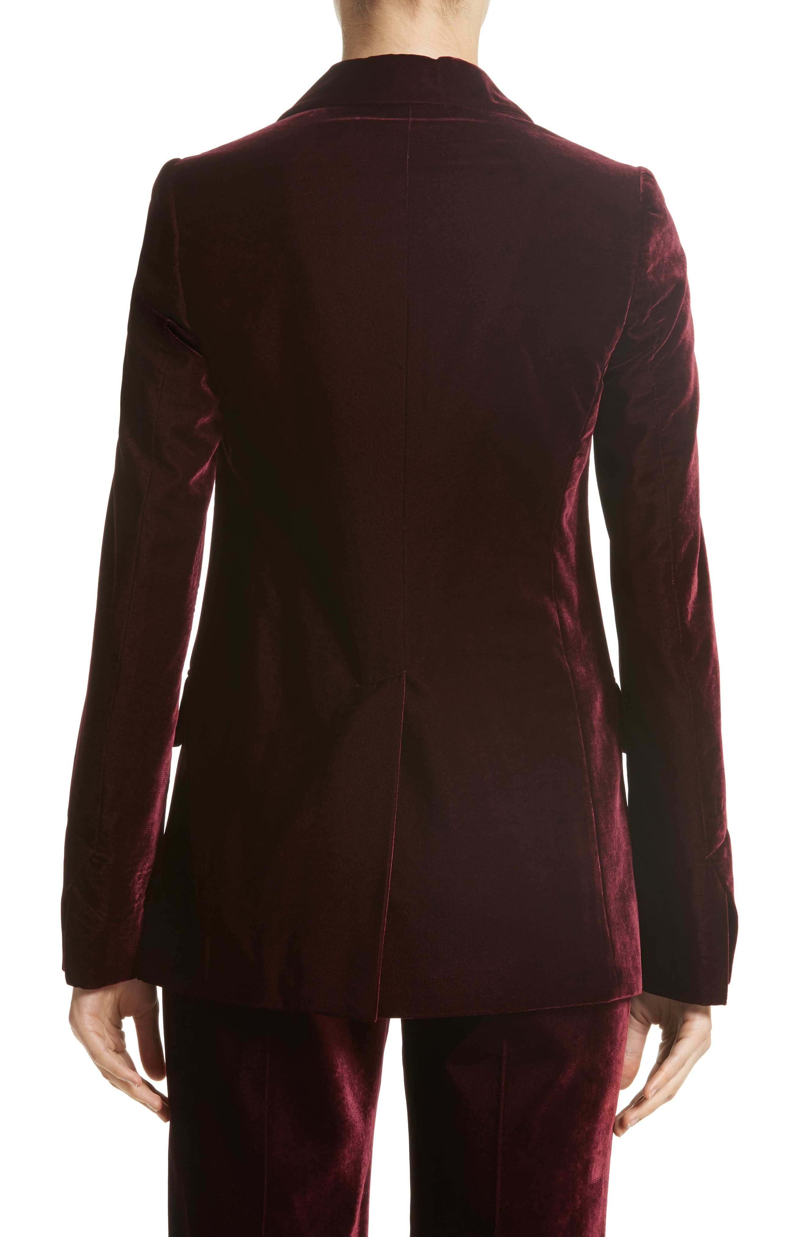 Bonded Velvet Jacket,                             Alternate thumbnail 2, color,                             Burgundy