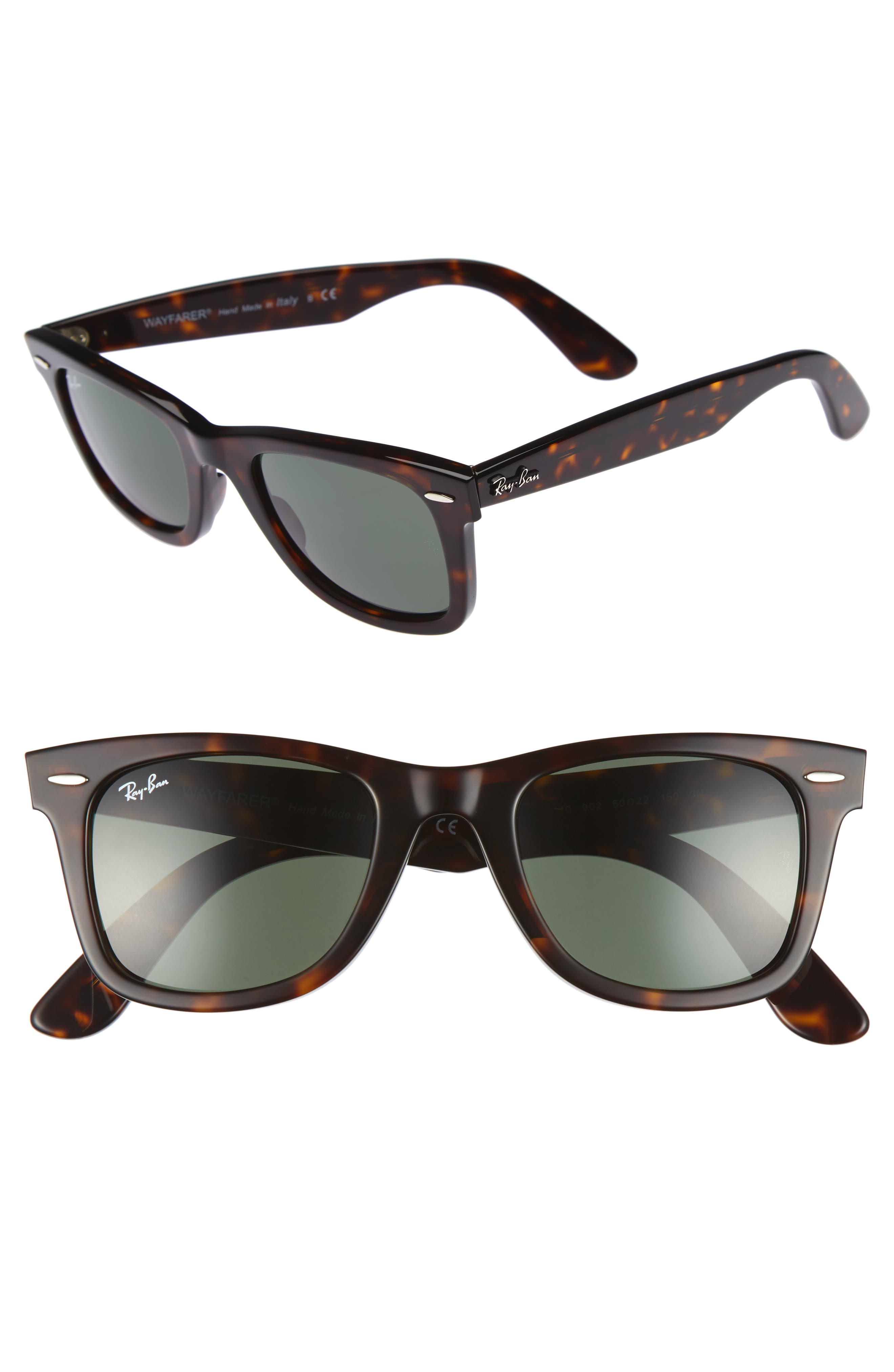 'Classic Wayfarer' 50mm Sunglasses,                         Main,                         color, Dark Tortoise/ Green