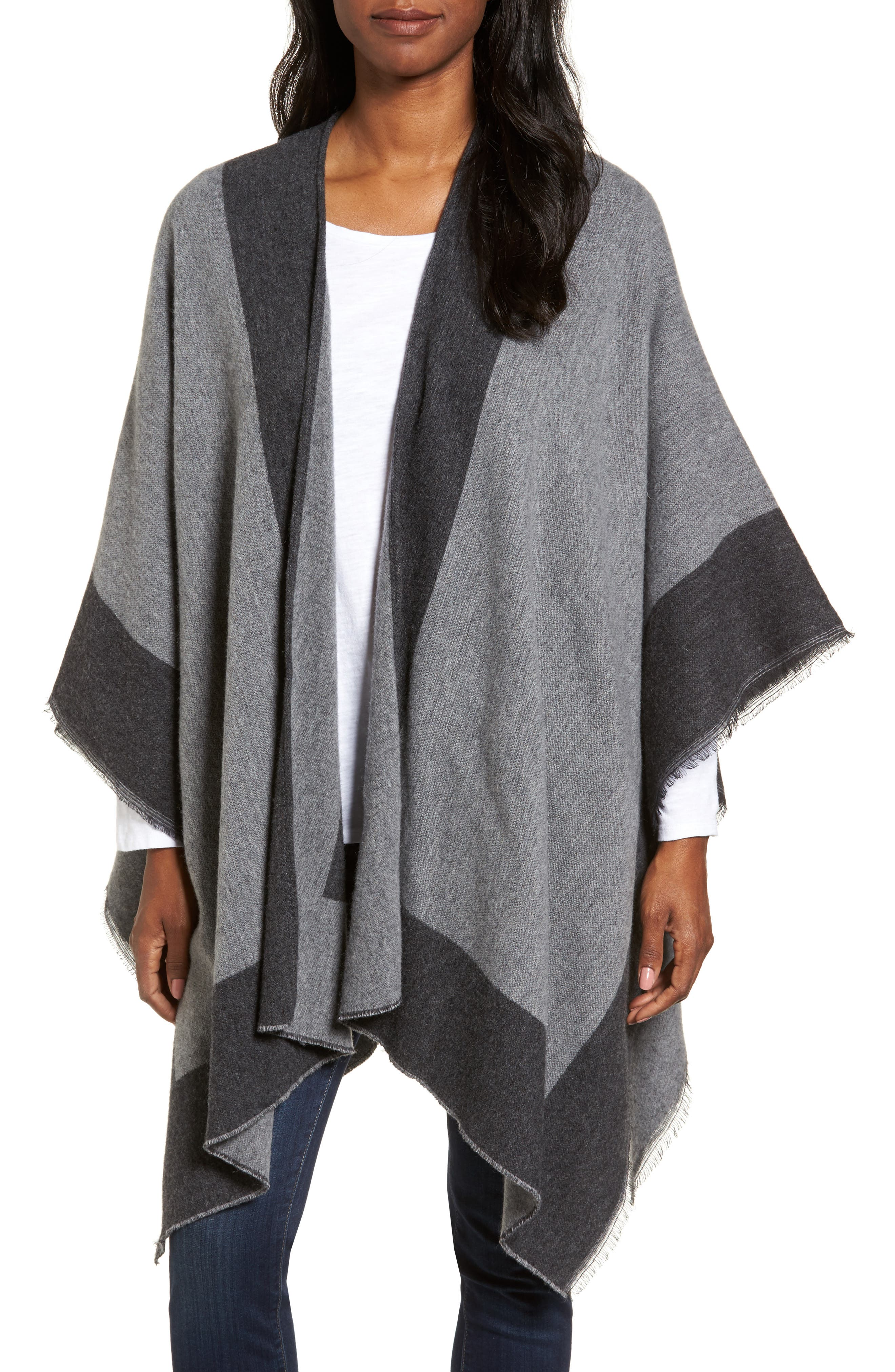EILEEN FISHER Wool Blend Poncho Wrap