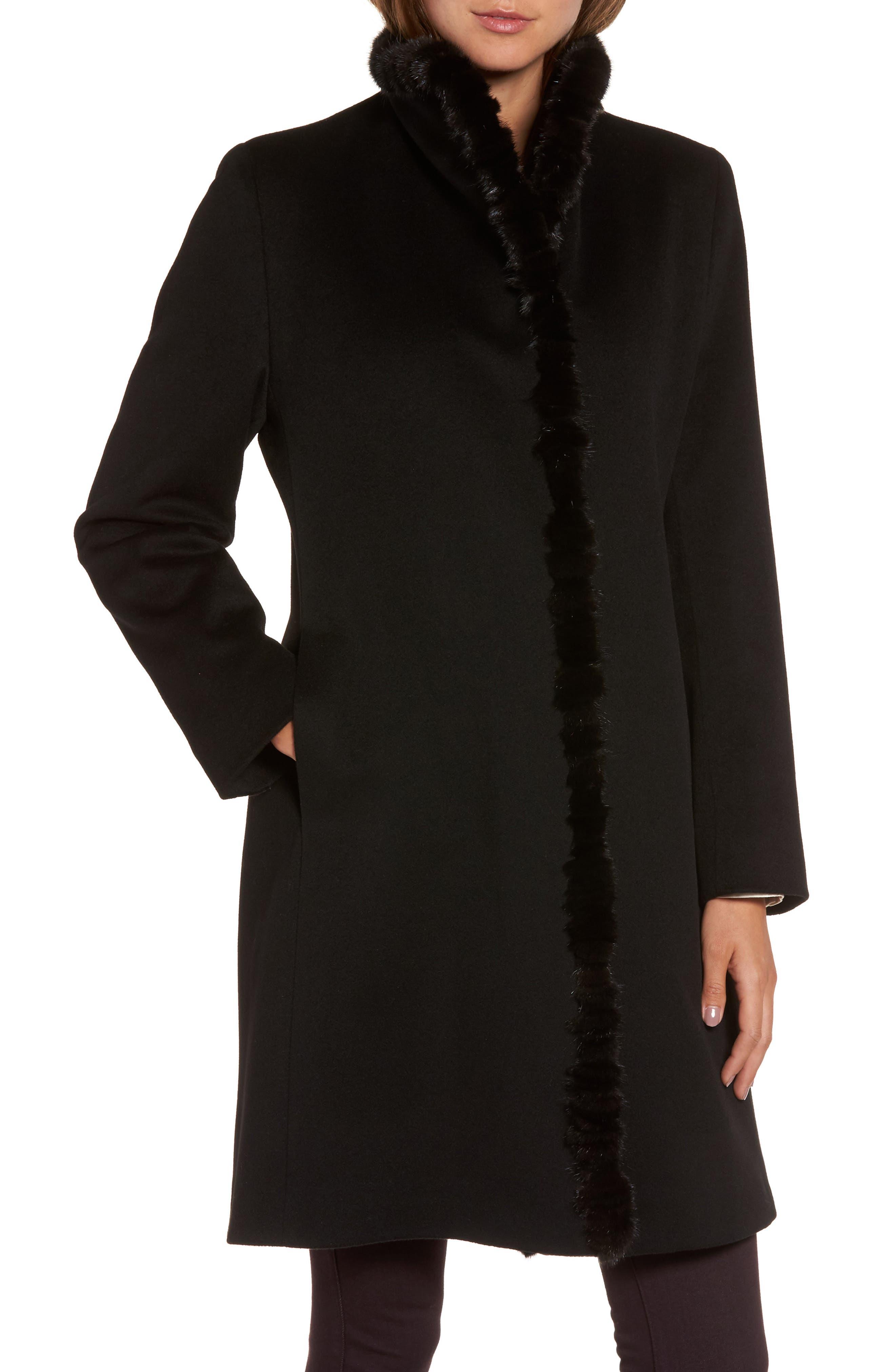 Loro Piana Wool Wing Collar Coat with Genuine Mink Trim,                             Alternate thumbnail 4, color,                             Black