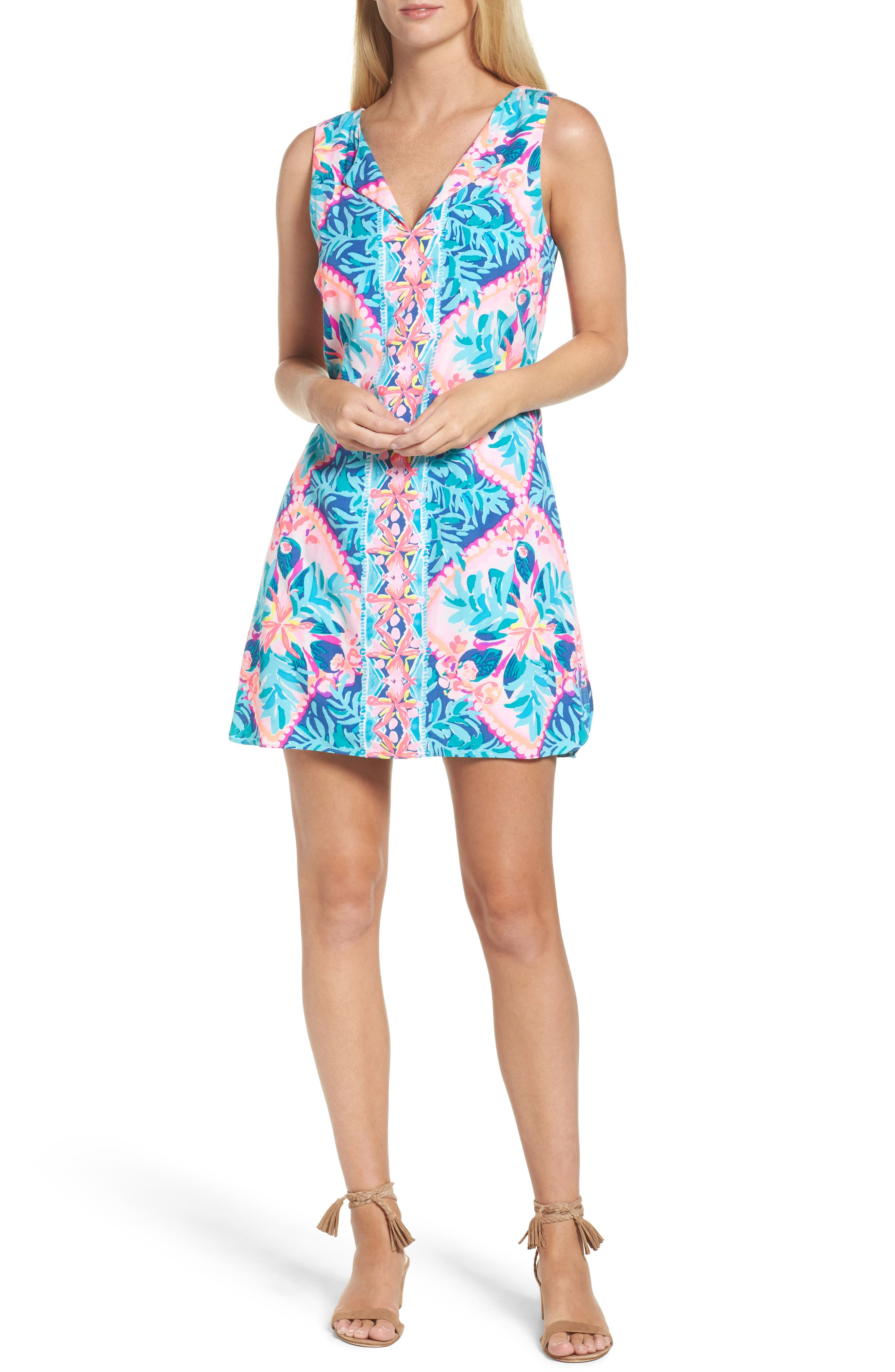 Tanya Skirted Romper,                         Main,                         color, Seaside Aqua