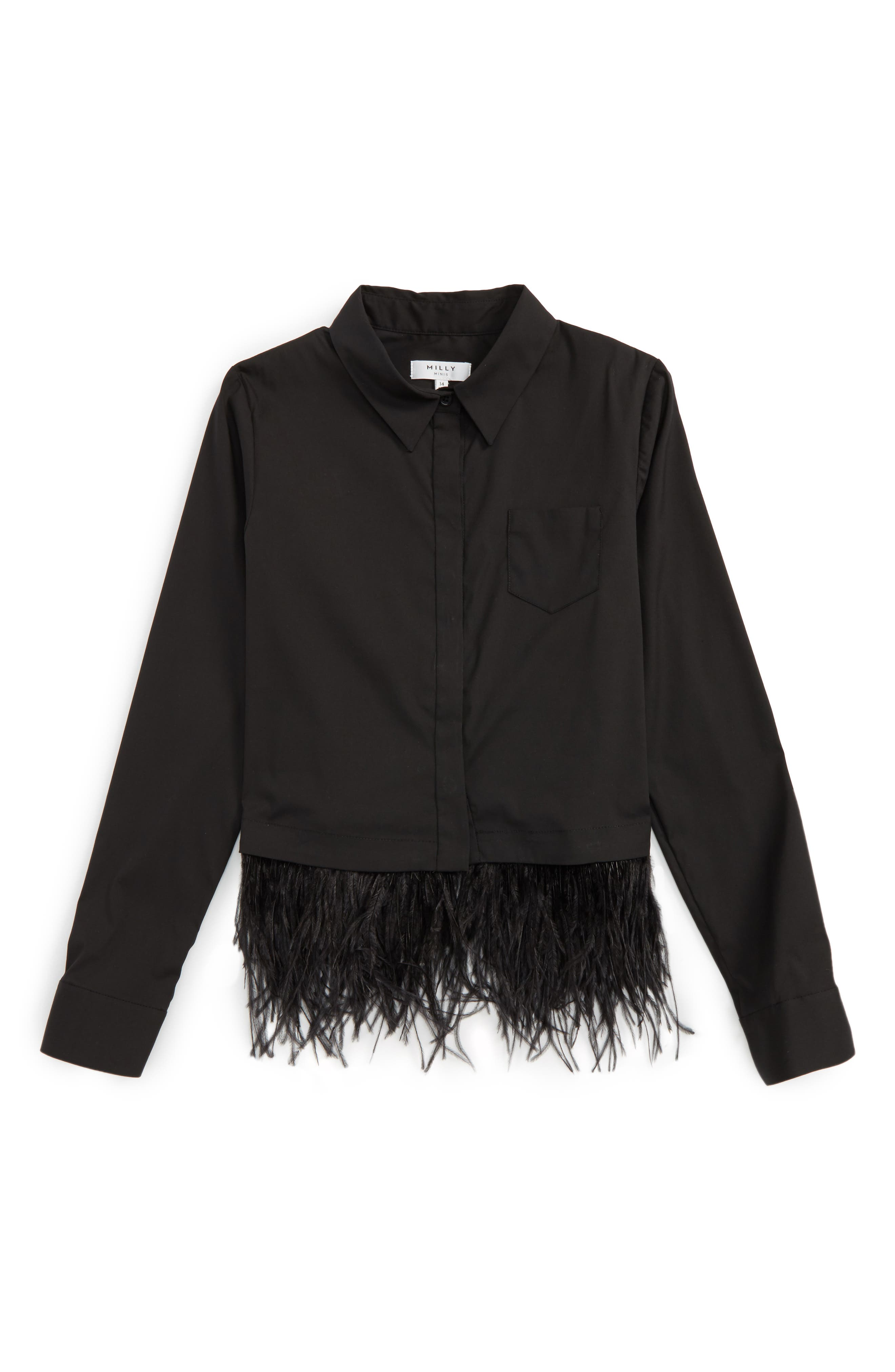Alternate Image 1 Selected - Milly Minis Feather Trim Shirt (Big Girls)