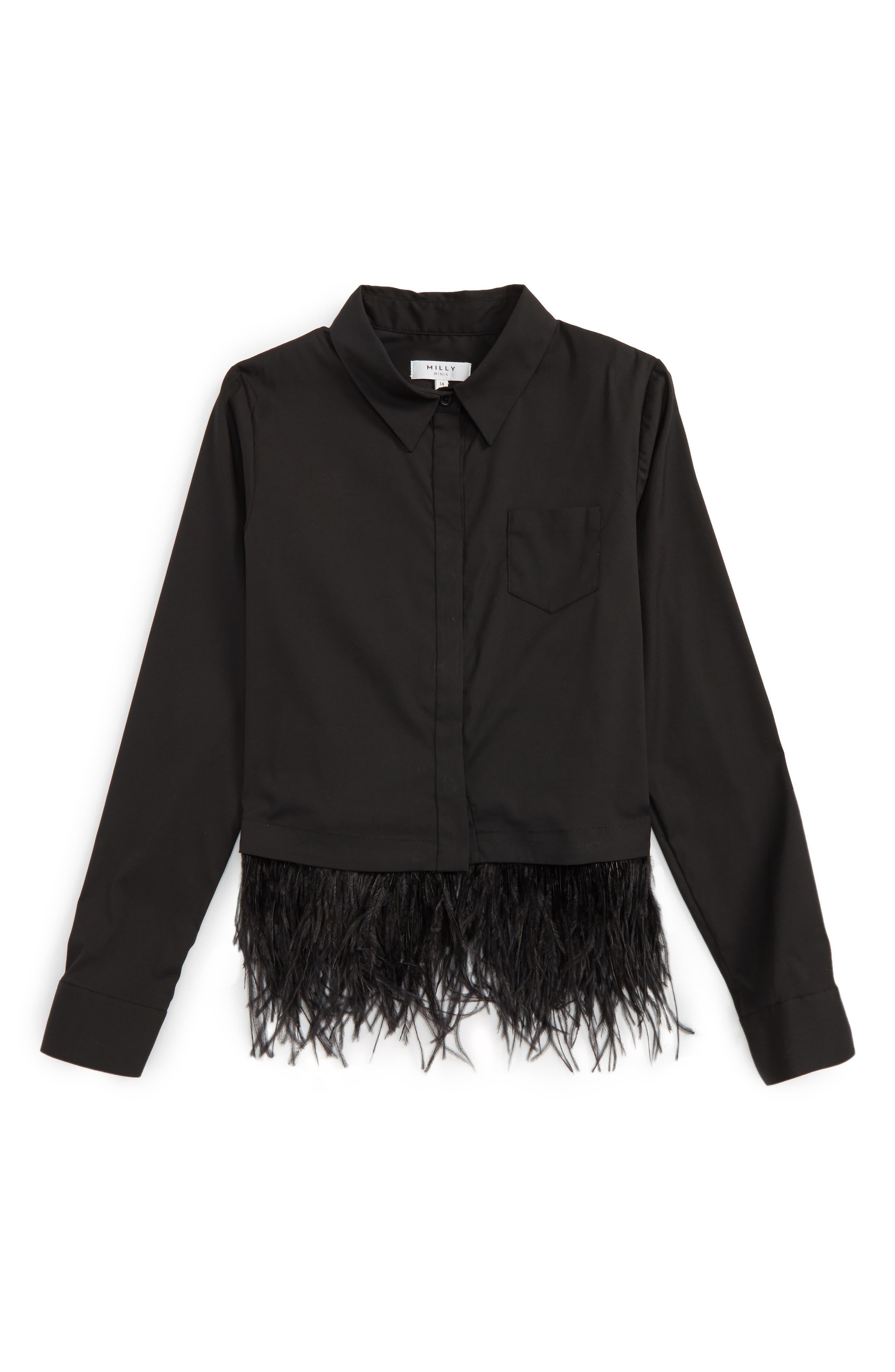 Feather Trim Shirt,                         Main,                         color, Black
