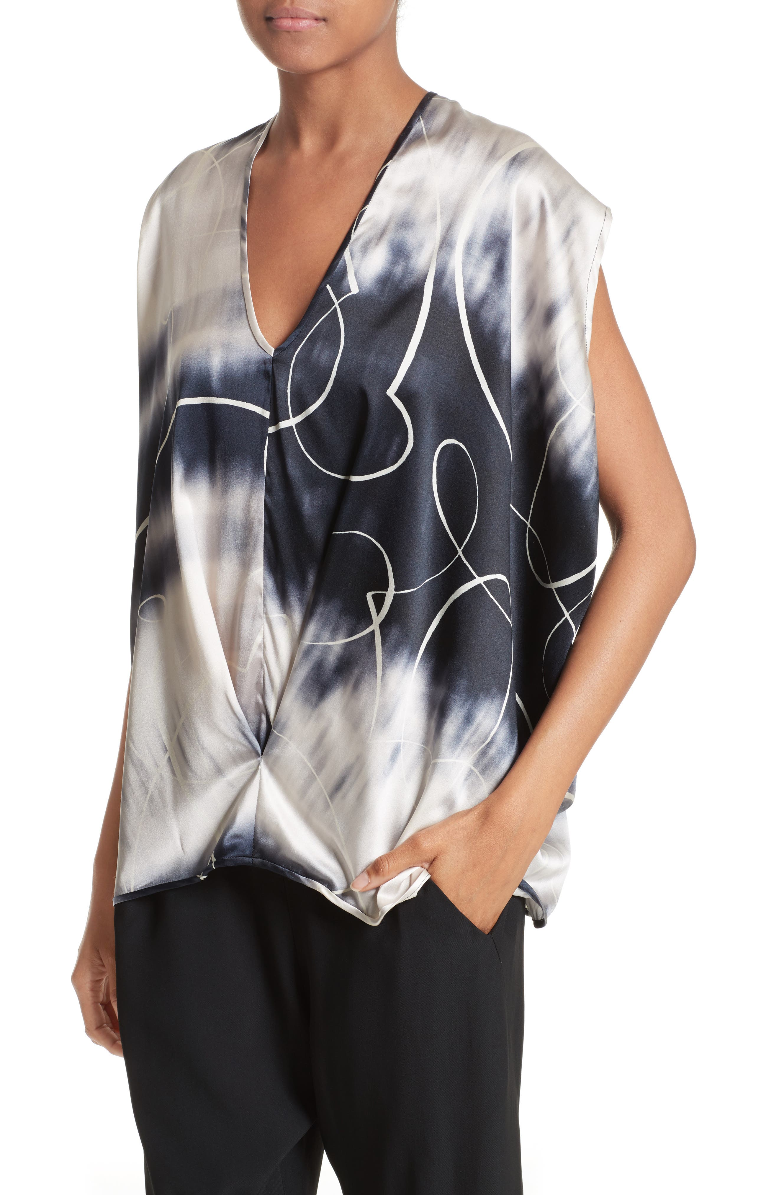 Ani Elliott X-Ray Stretch Silk Tank,                             Alternate thumbnail 8, color,                             Elliot X-Ray