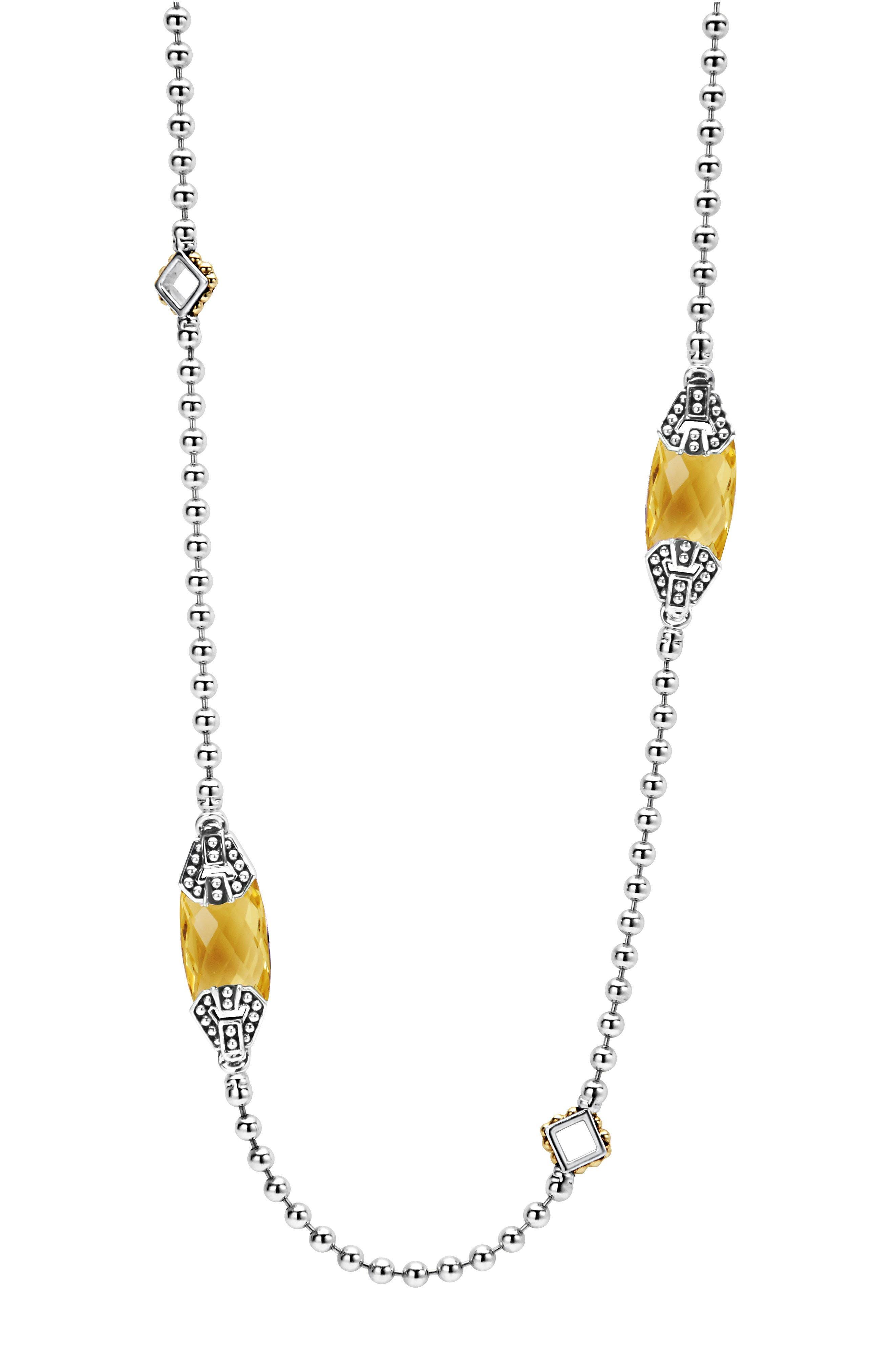 LAGOS Caviar Color Long Semiprecious Stone Station Necklace