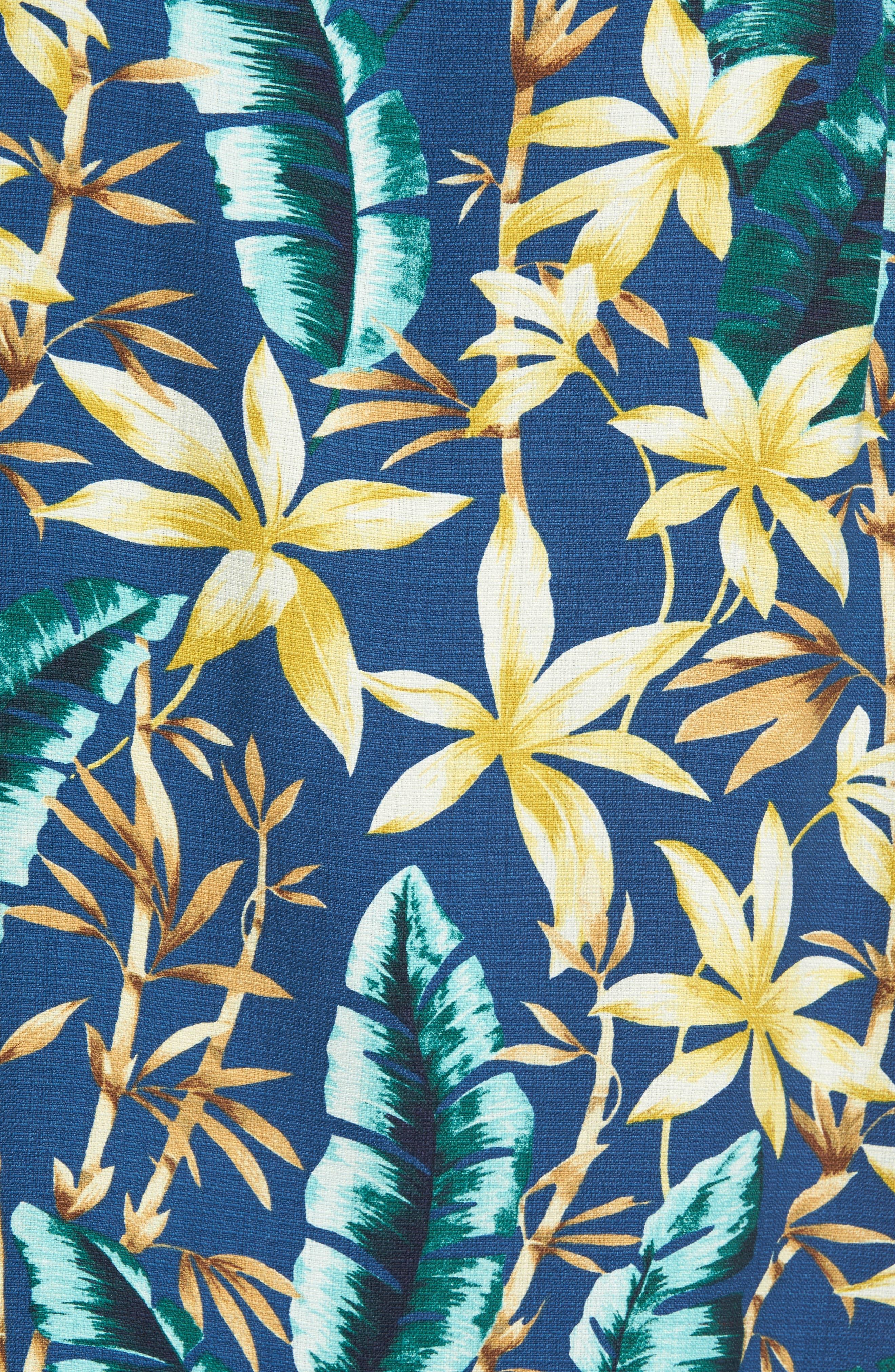 Standard Fit Jungle Punch Silk Camp Shirt,                             Alternate thumbnail 5, color,                             Bering Blue