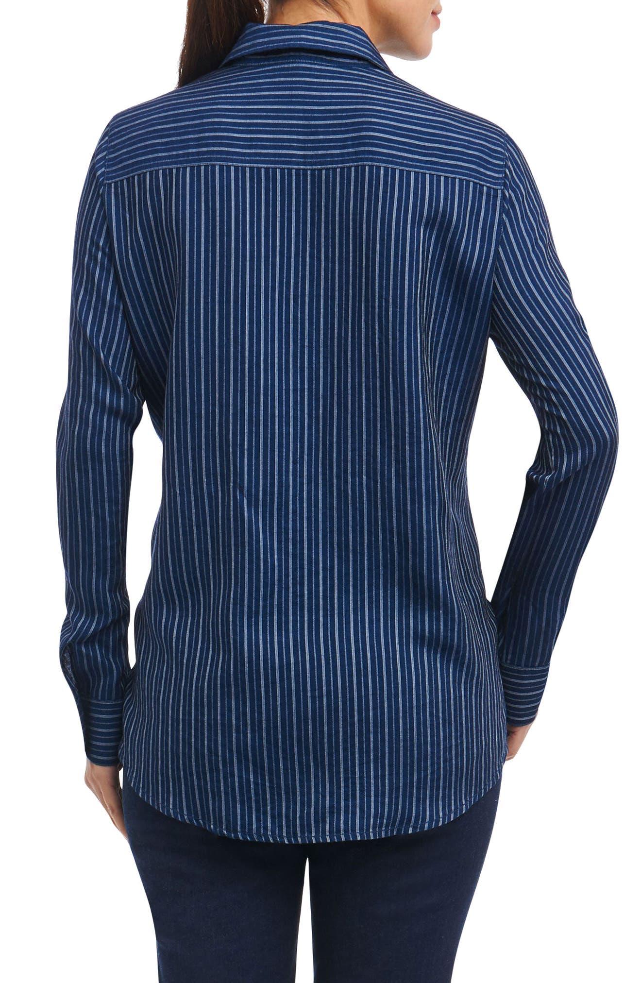 Hope Preppy Stripe Cotton Shirt,                             Alternate thumbnail 2, color,                             Navy