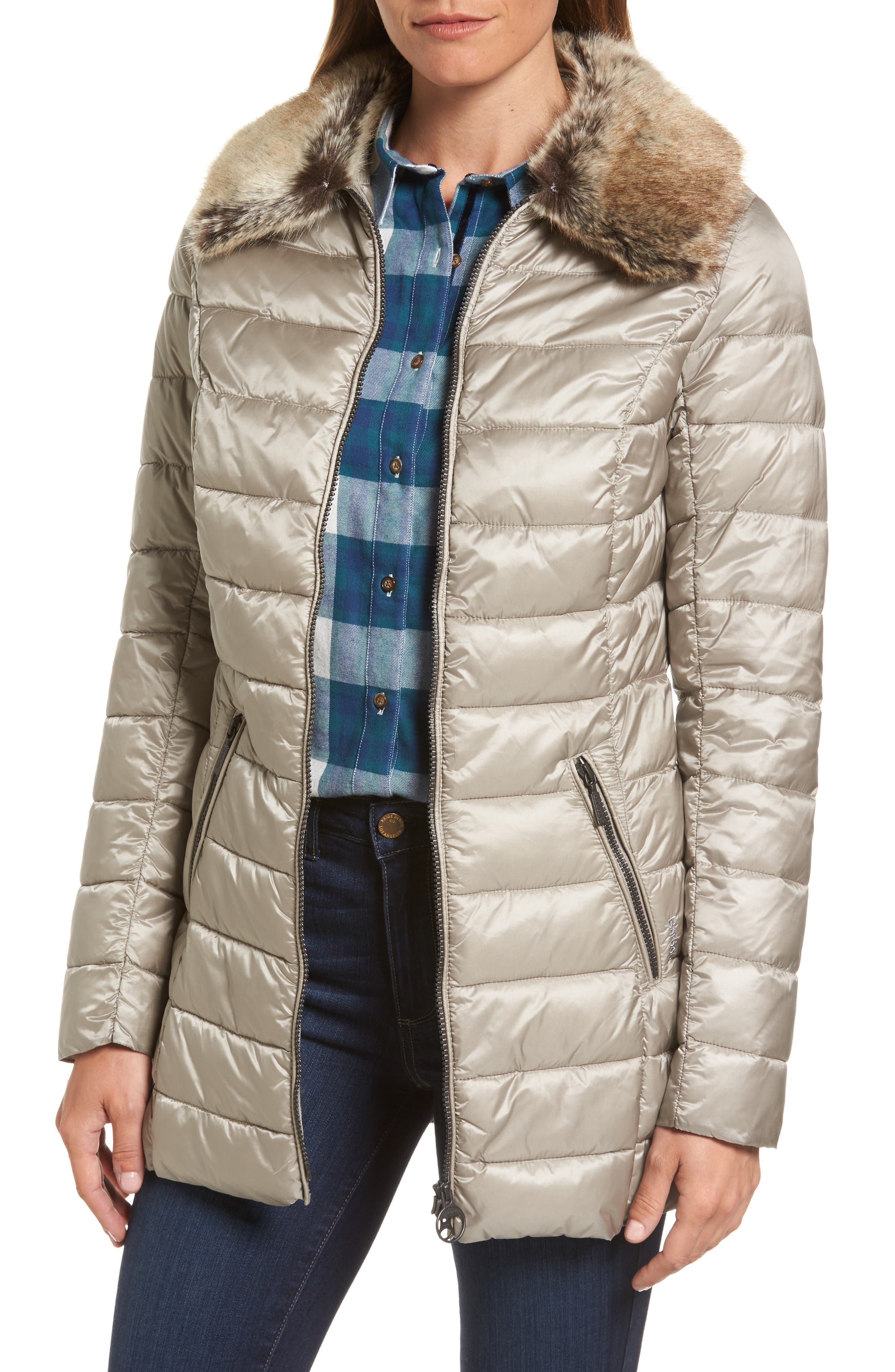 Rambleton Water Resistant Quilted Jacket with Faux Fur Collar,                         Main,                         color, Taupe