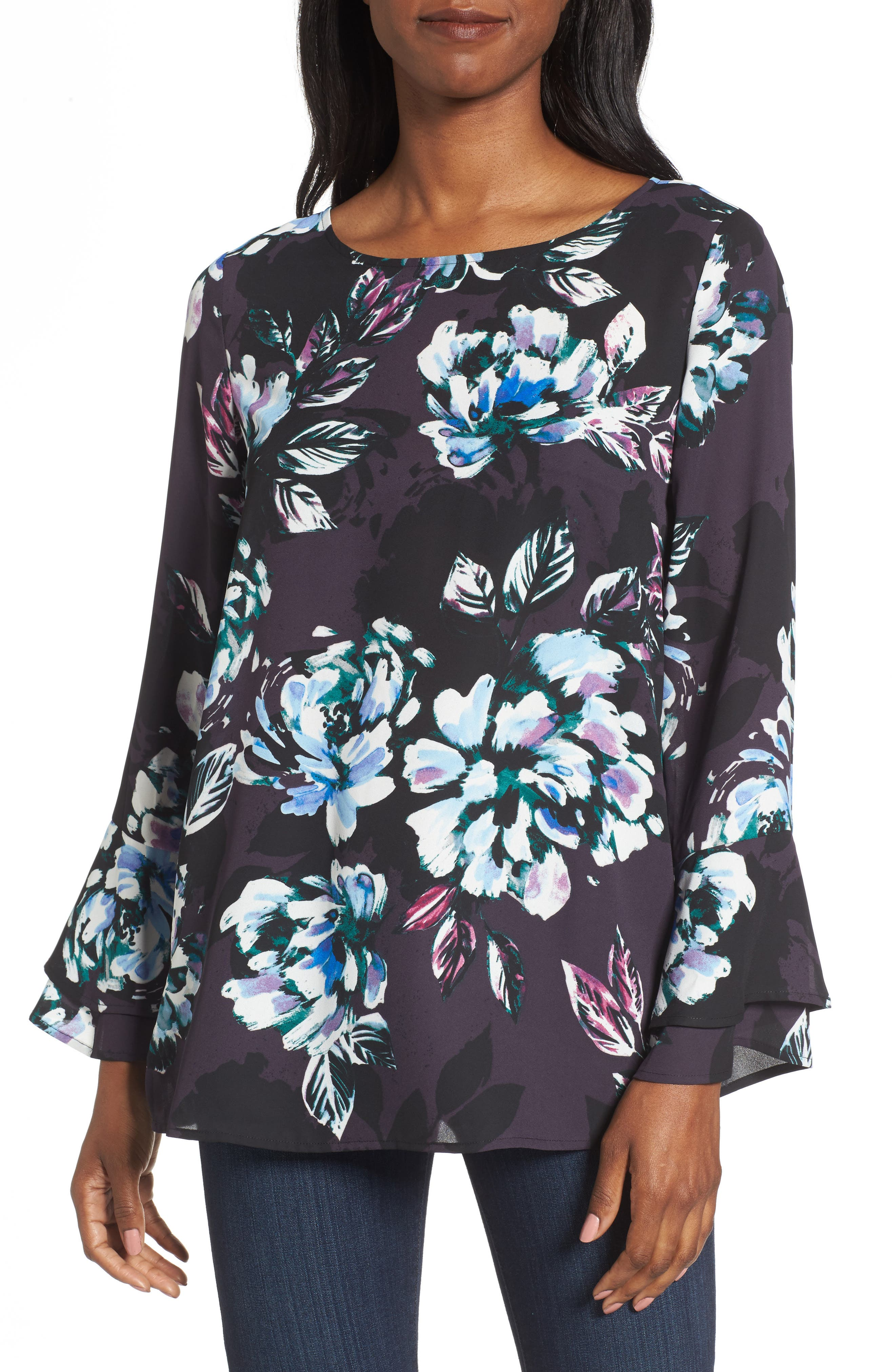 Twilight Blooms Bell Sleeve Blouse,                         Main,                         color, Rich Black