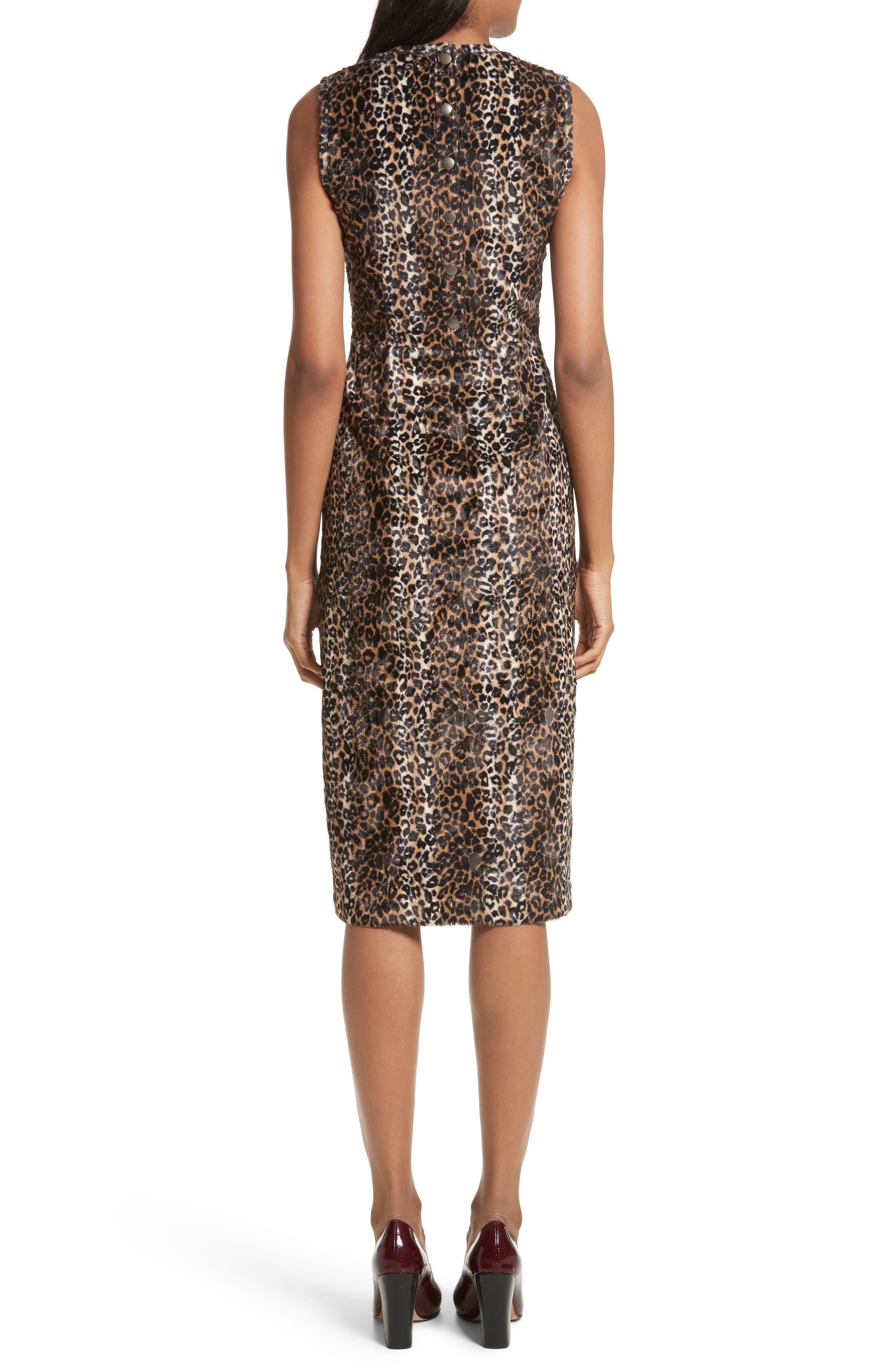 Alternate Image 2  - Rachel Comey Sling Cheetah Faux Fur Sheath Dress