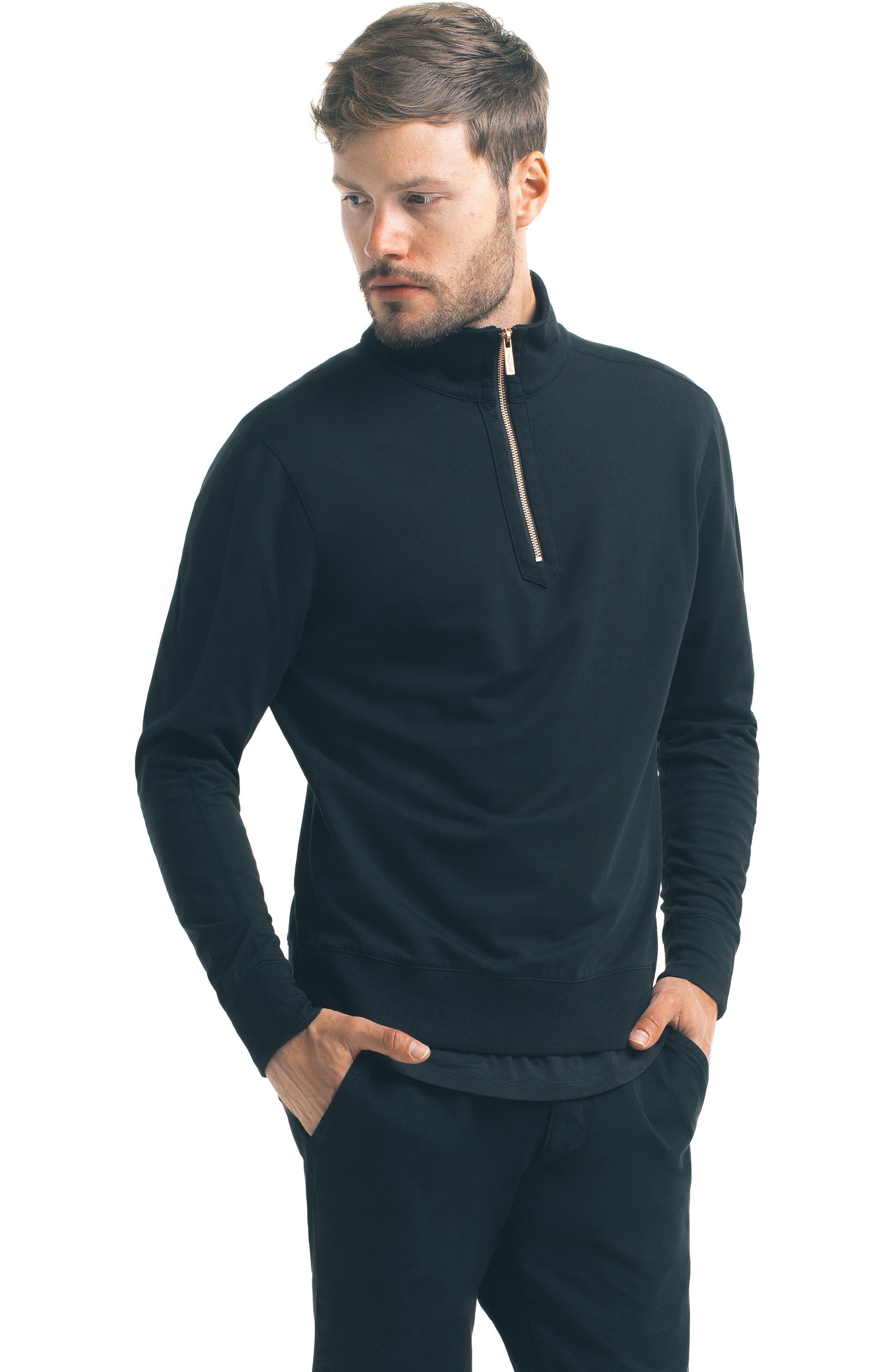 Slim Pro Quarter Zip Pullover,                             Alternate thumbnail 5, color,                             Black