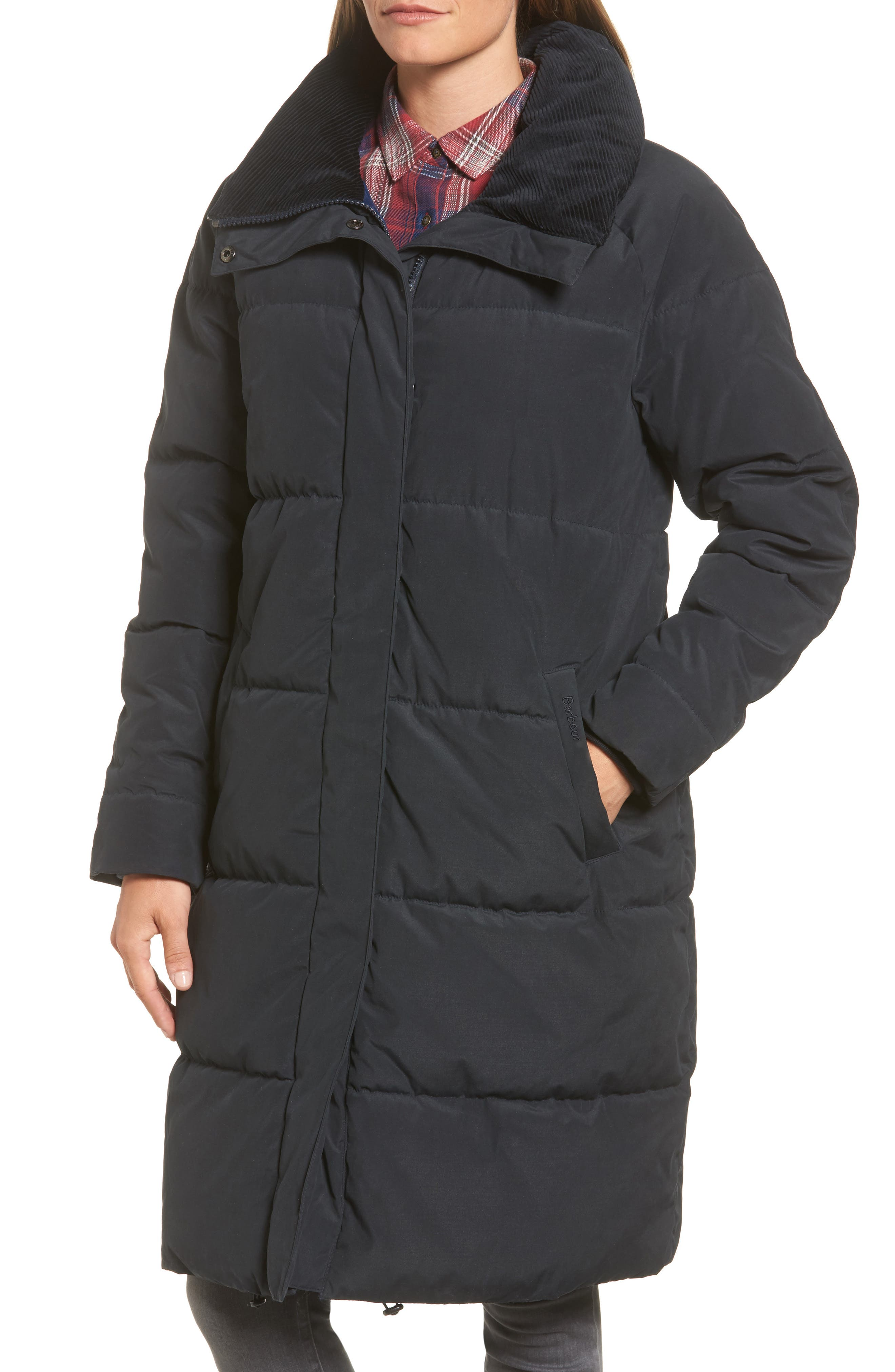 Leck Water Resistant Baffle Quilted Coat,                             Alternate thumbnail 4, color,                             Navy
