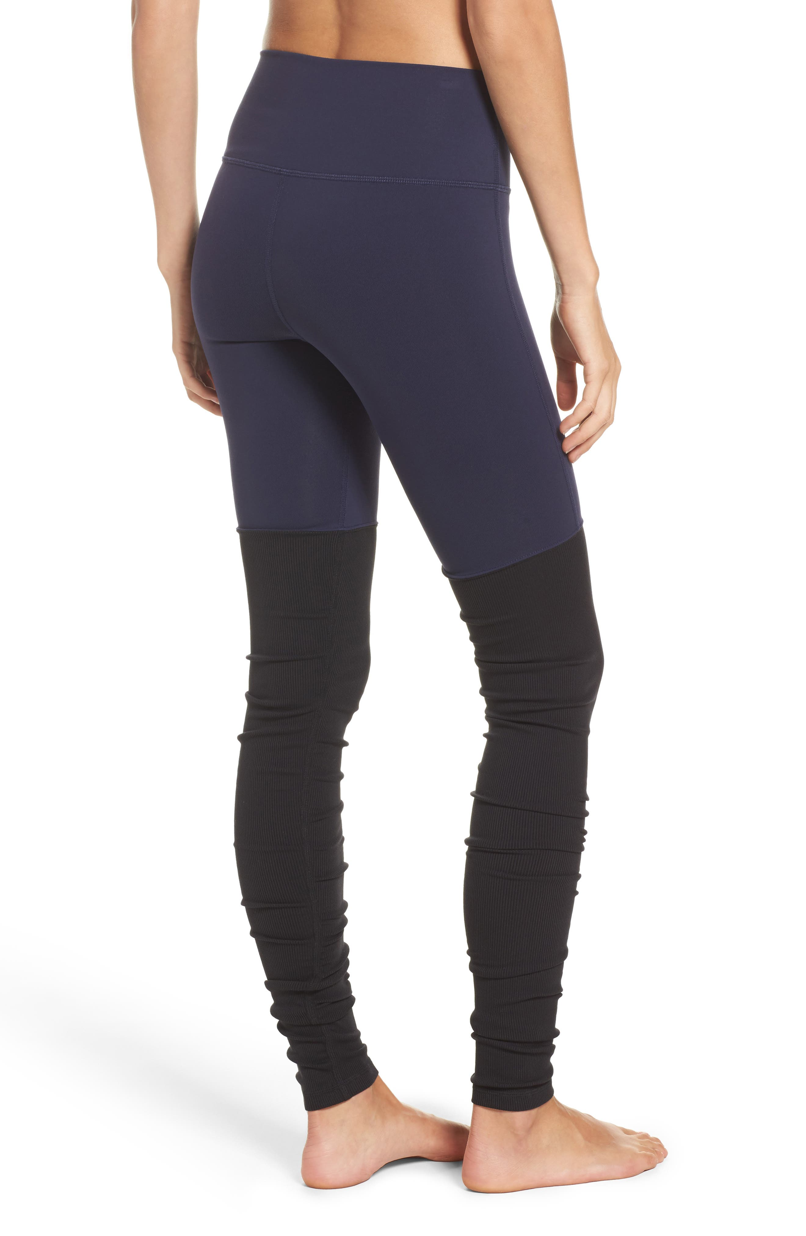 Goddess Ribbed Leggings,                             Alternate thumbnail 2, color,                             Rich Navy/ Black