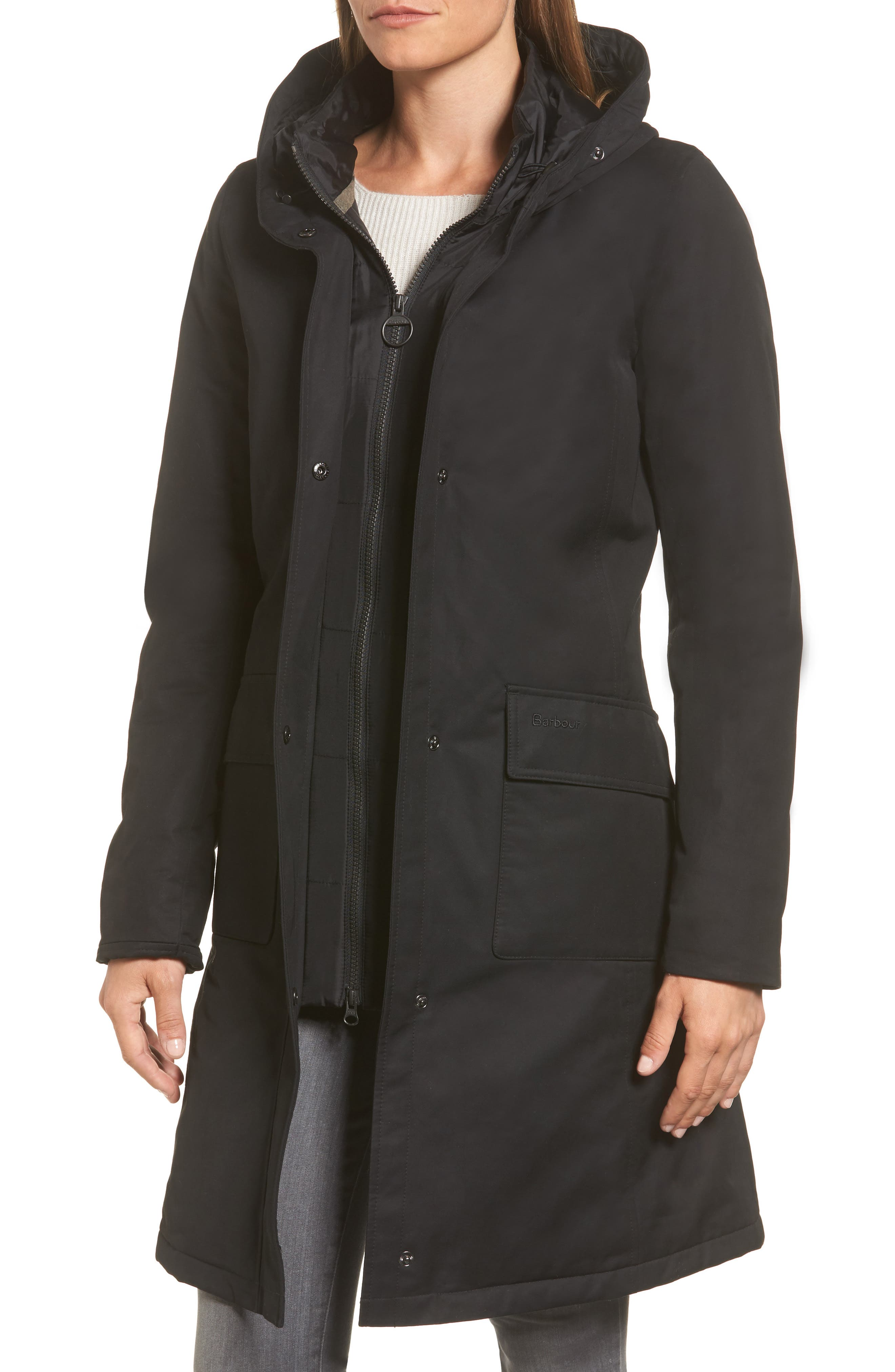 Linton Hooded Waterproof Jacket with Faux Fur Trim,                             Alternate thumbnail 4, color,                             Black