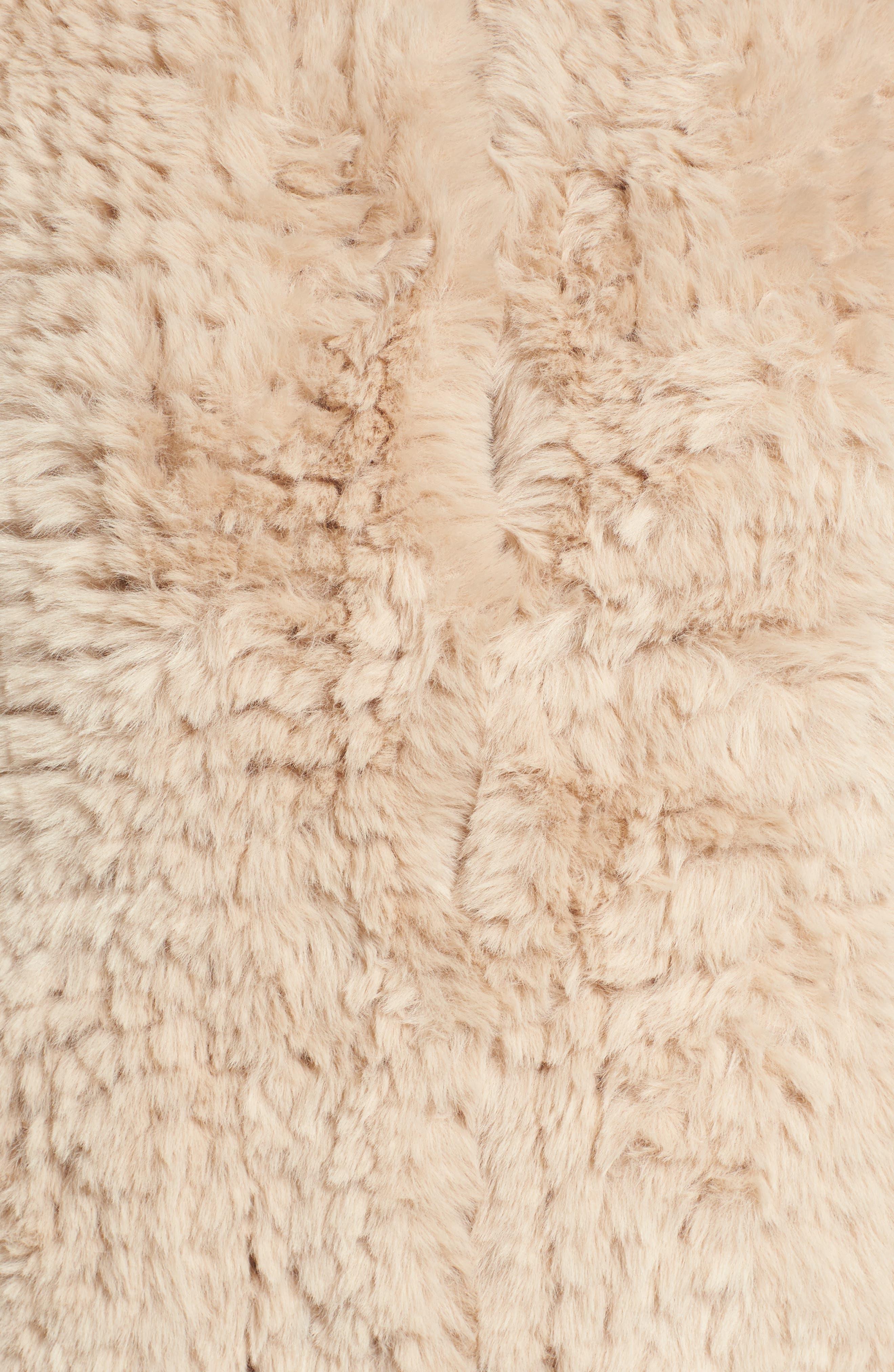 Faux Fur Jacket,                             Alternate thumbnail 6, color,                             Beige