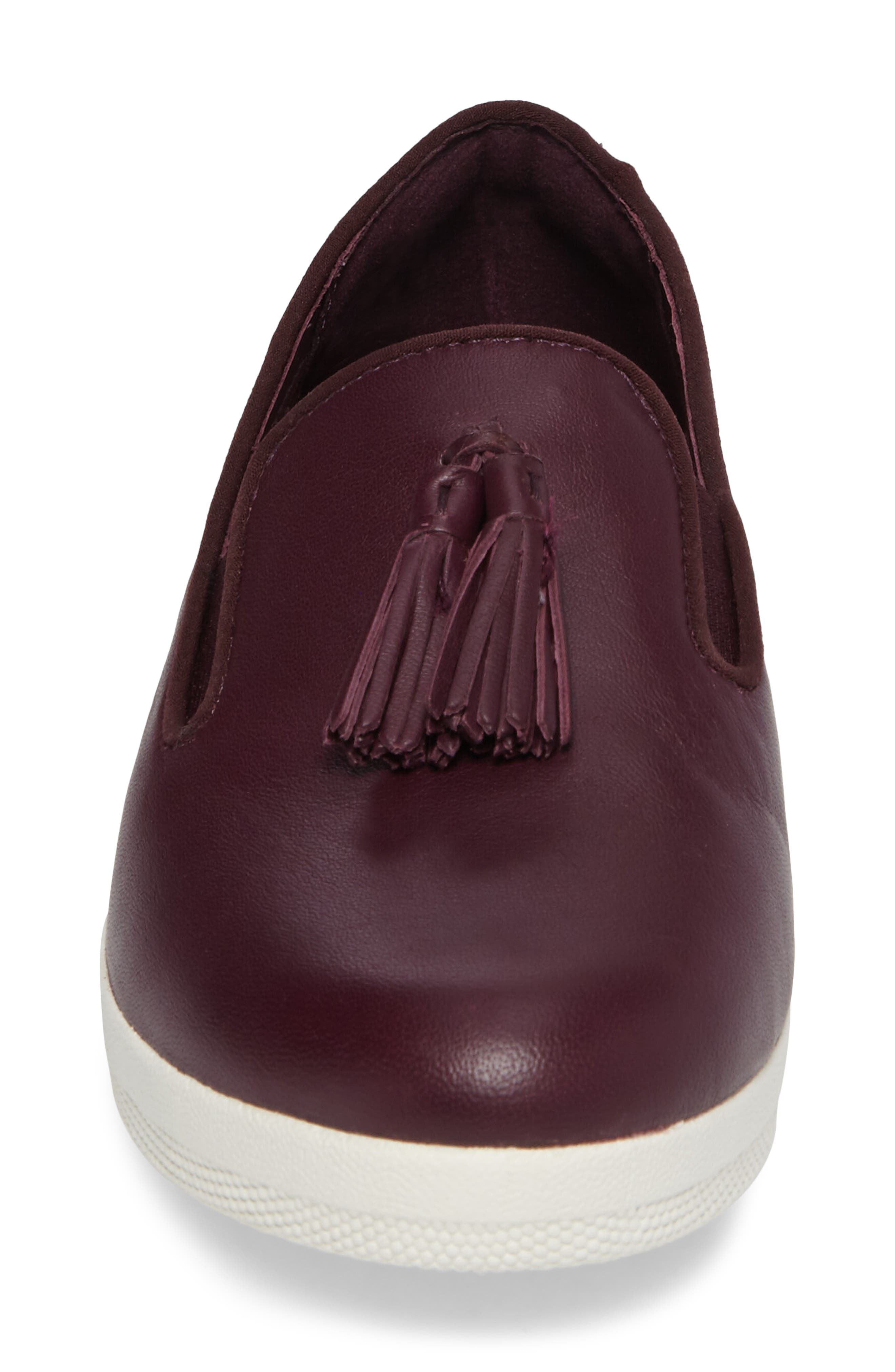 Tassle Superskate Wedge Sneaker,                             Alternate thumbnail 4, color,                             Deep Plum Leather