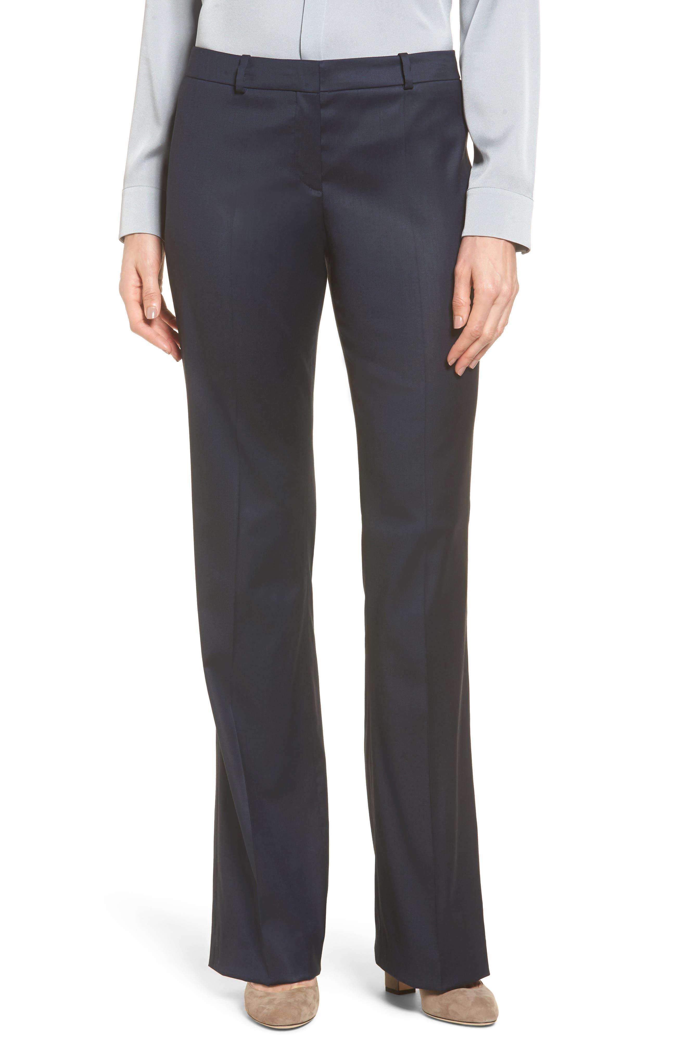Stretch Wool Blend Suit Trousers,                         Main,                         color, Gentian Blue