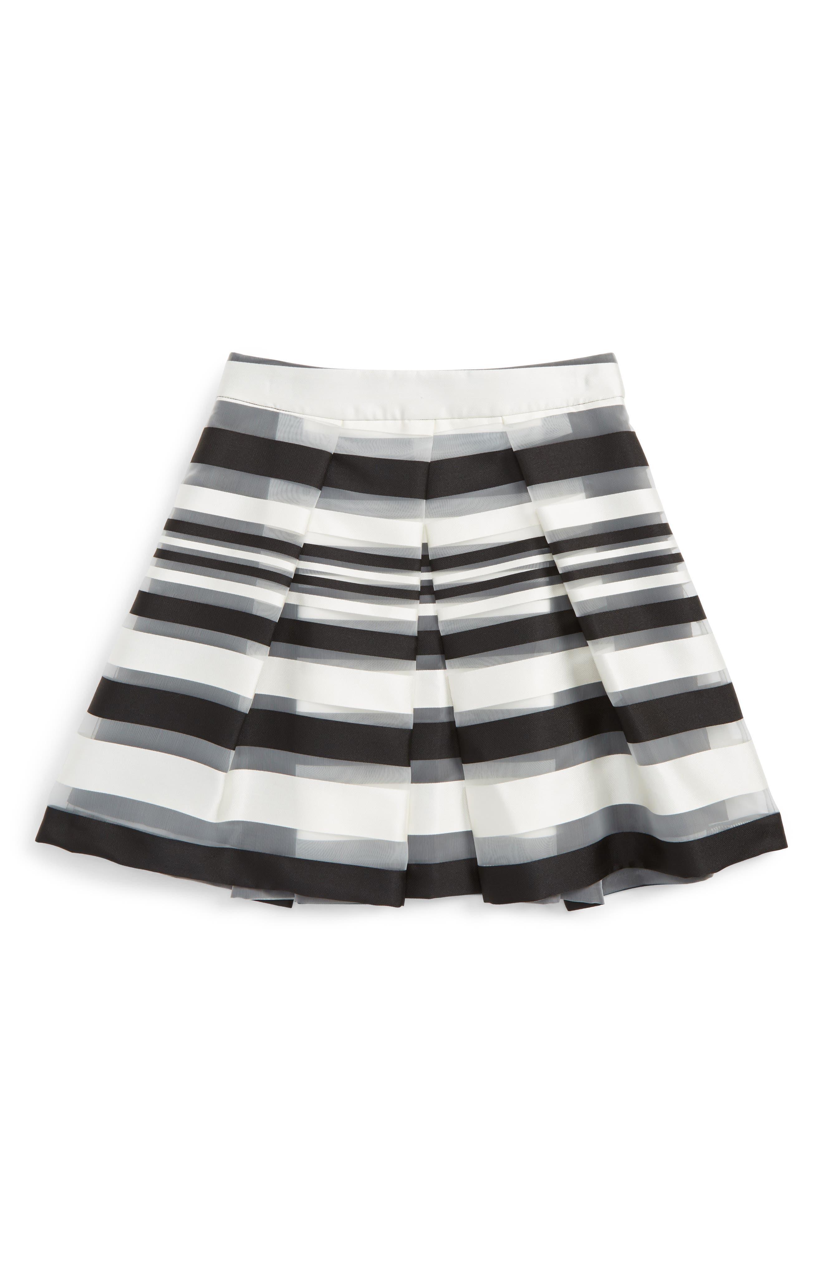 Illusion Stripe Skirt,                         Main,                         color, White/ Black