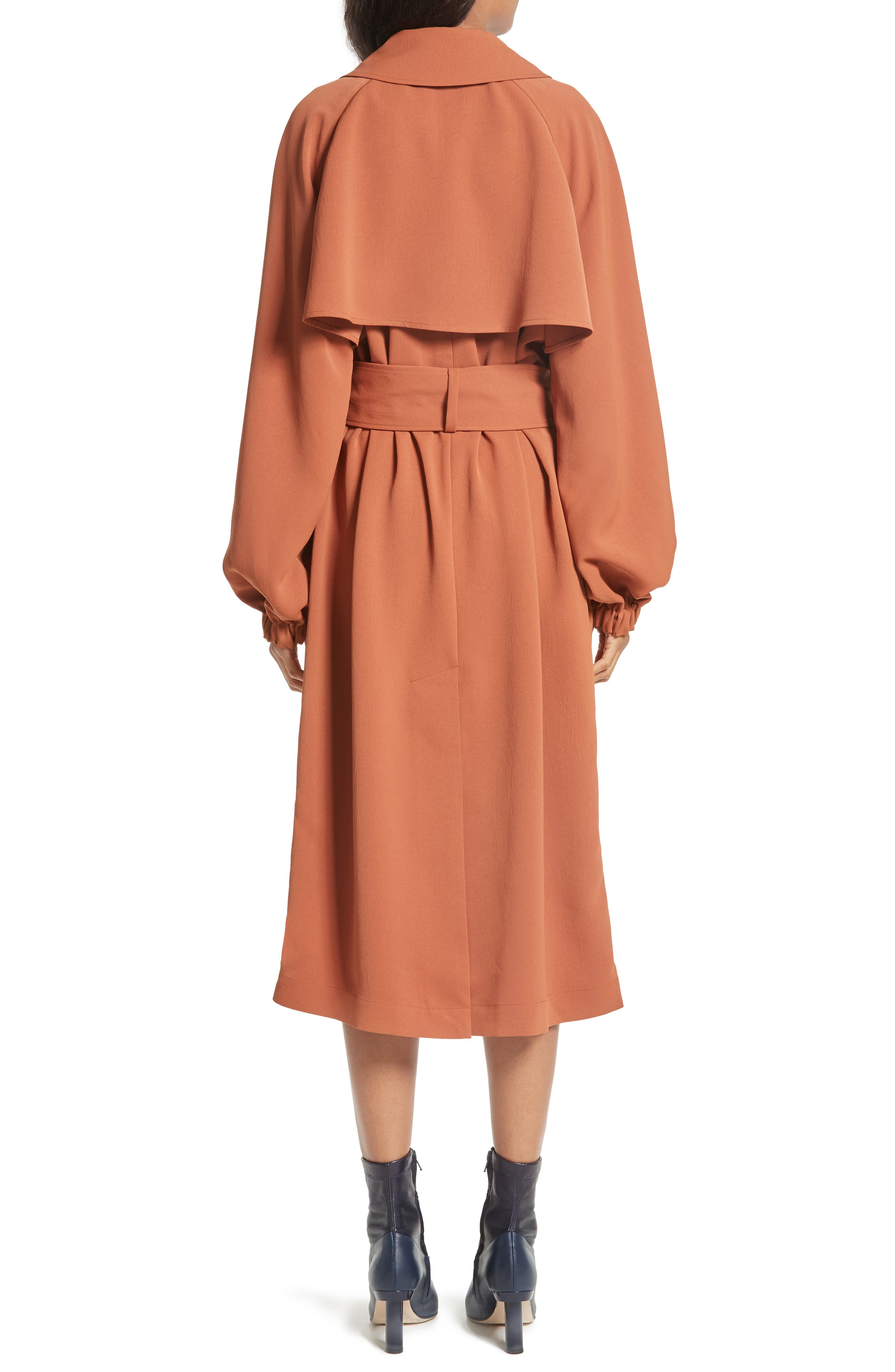 Draped Twill Trench Coat,                             Alternate thumbnail 2, color,                             Rust