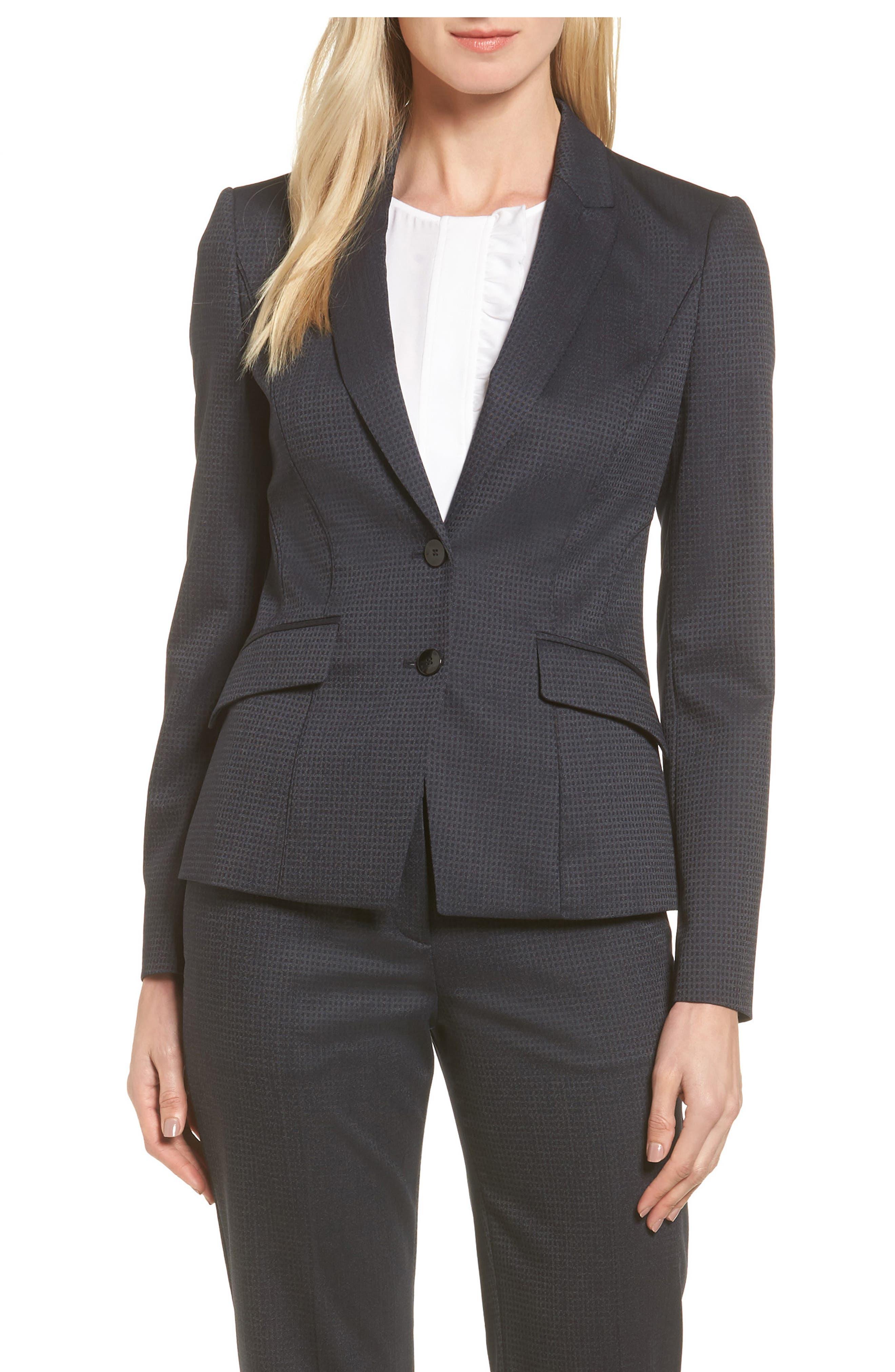 BOSS Jukani Check Wool Blend Suit Jacket (Petite)