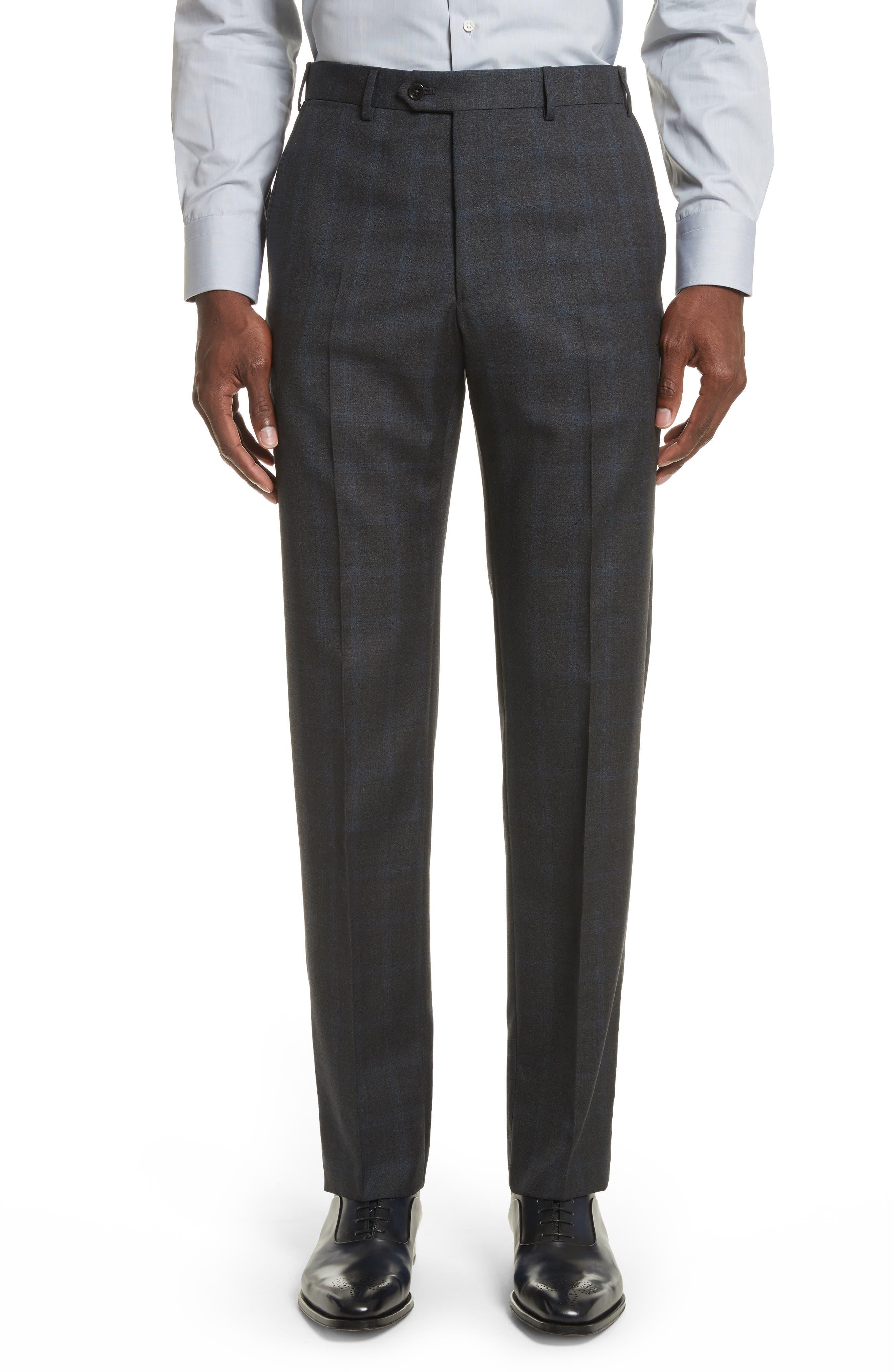 G-Line Trim Fit Plaid Wool Suit,                             Alternate thumbnail 6, color,                             Black