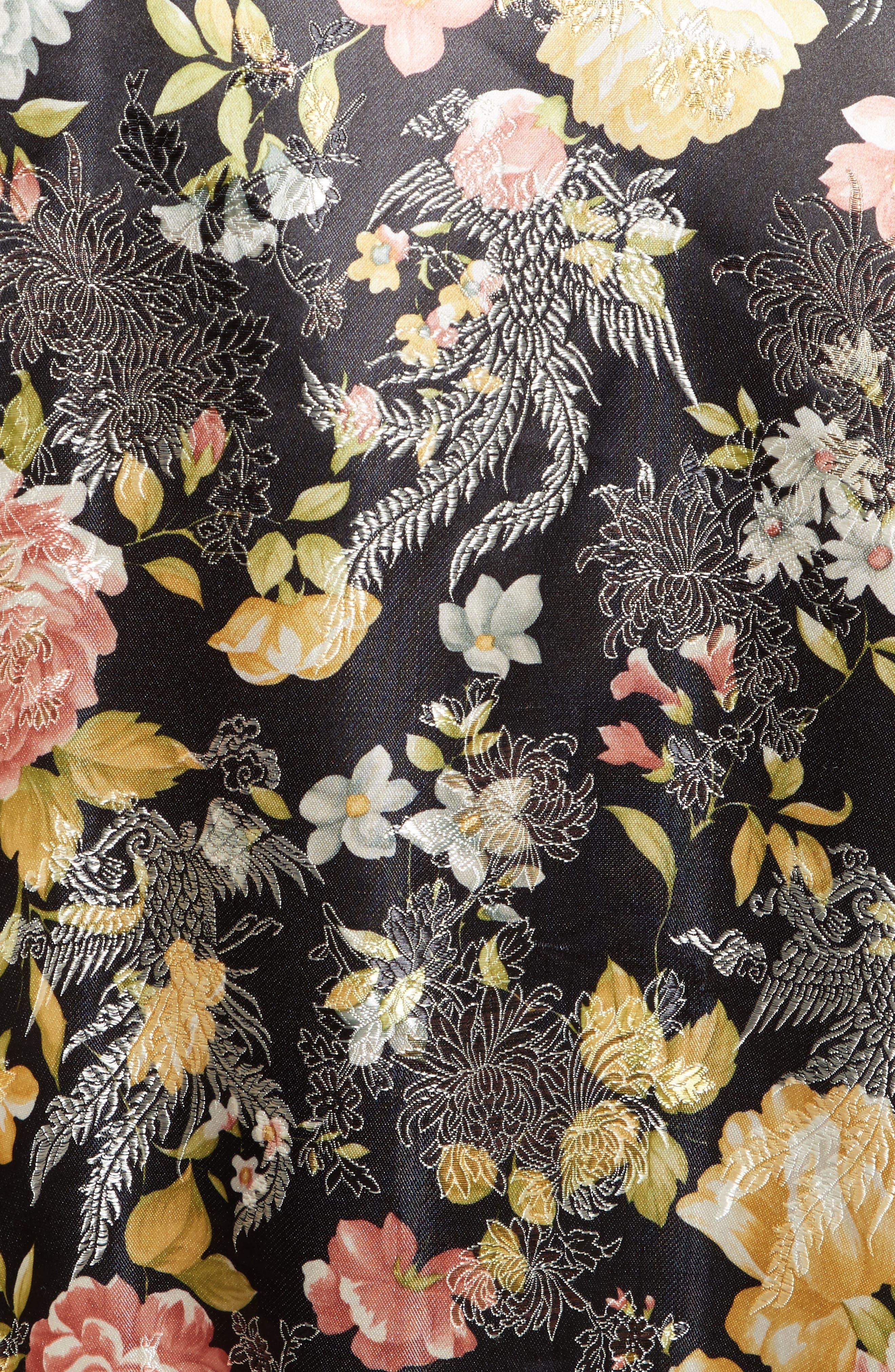 Floral Jacquard Bomber Jacket,                             Alternate thumbnail 5, color,                             Black Combo