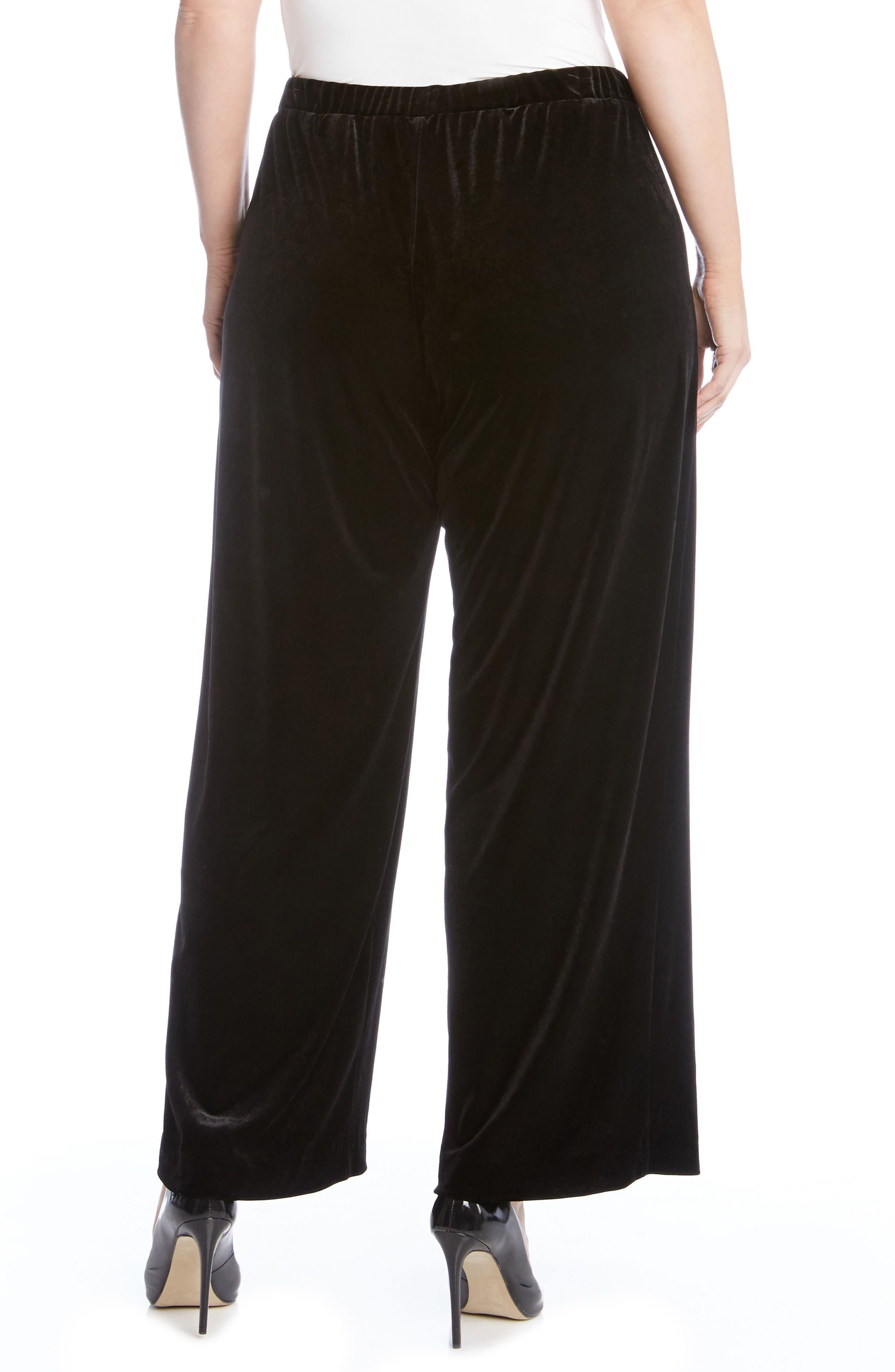 Alternate Image 2  - Karen Kane Wide Leg Velvet Pants (Plus Size)