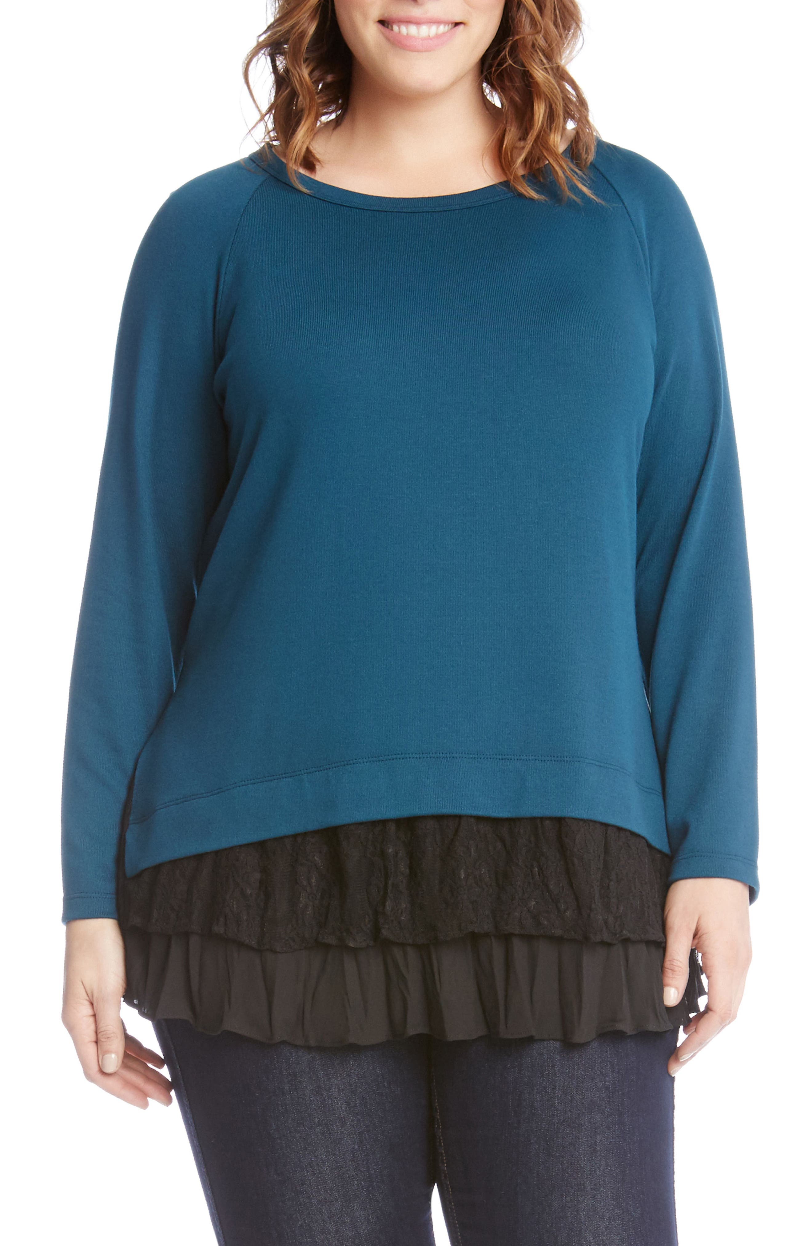 Lace Inset Sweater,                         Main,                         color, Teal