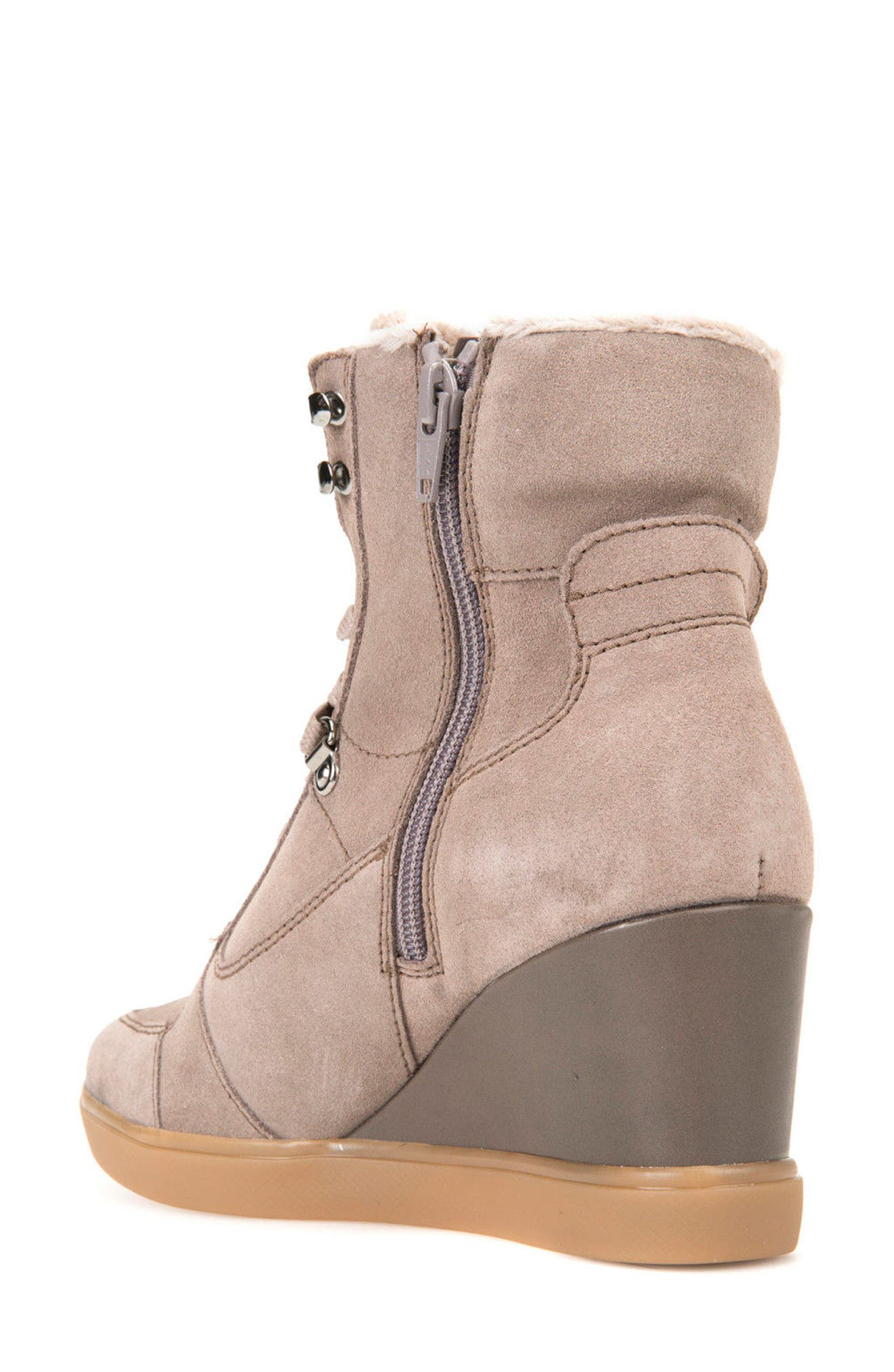 Eleni Wedge Sneaker,                             Alternate thumbnail 2, color,                             Taupe Suede