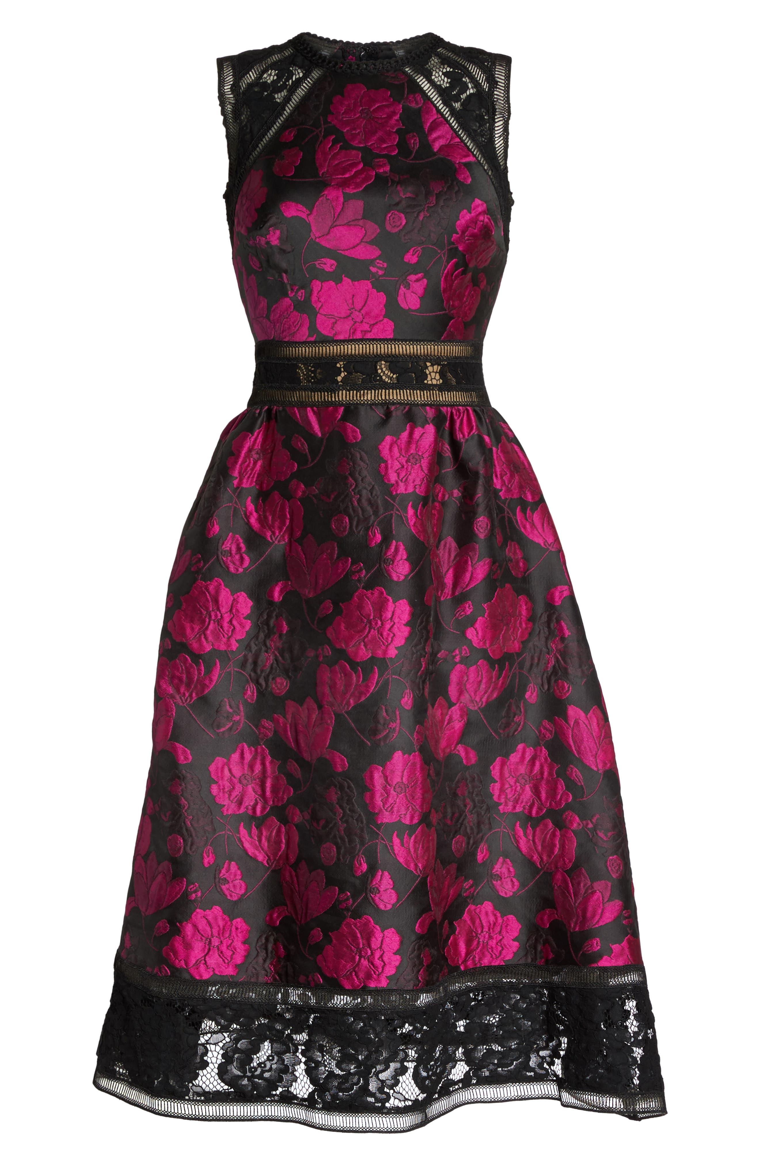 Lace Trim Rose Jacquard Midi Dress,                             Alternate thumbnail 6, color,                             Fuchsia/ Black