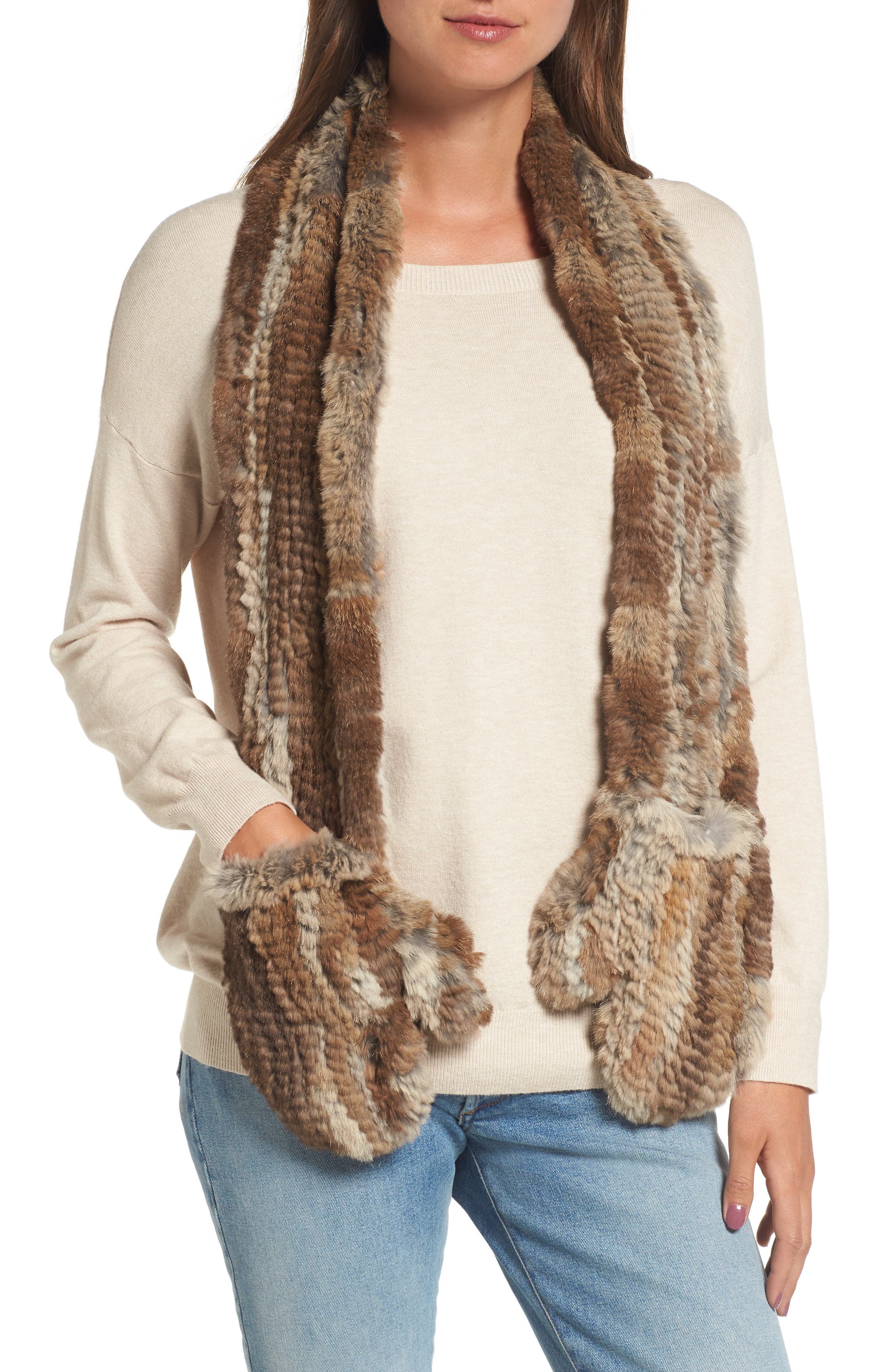 Genuine Rabbit Fur Scarf with Built-in Mittens,                         Main,                         color, Natural