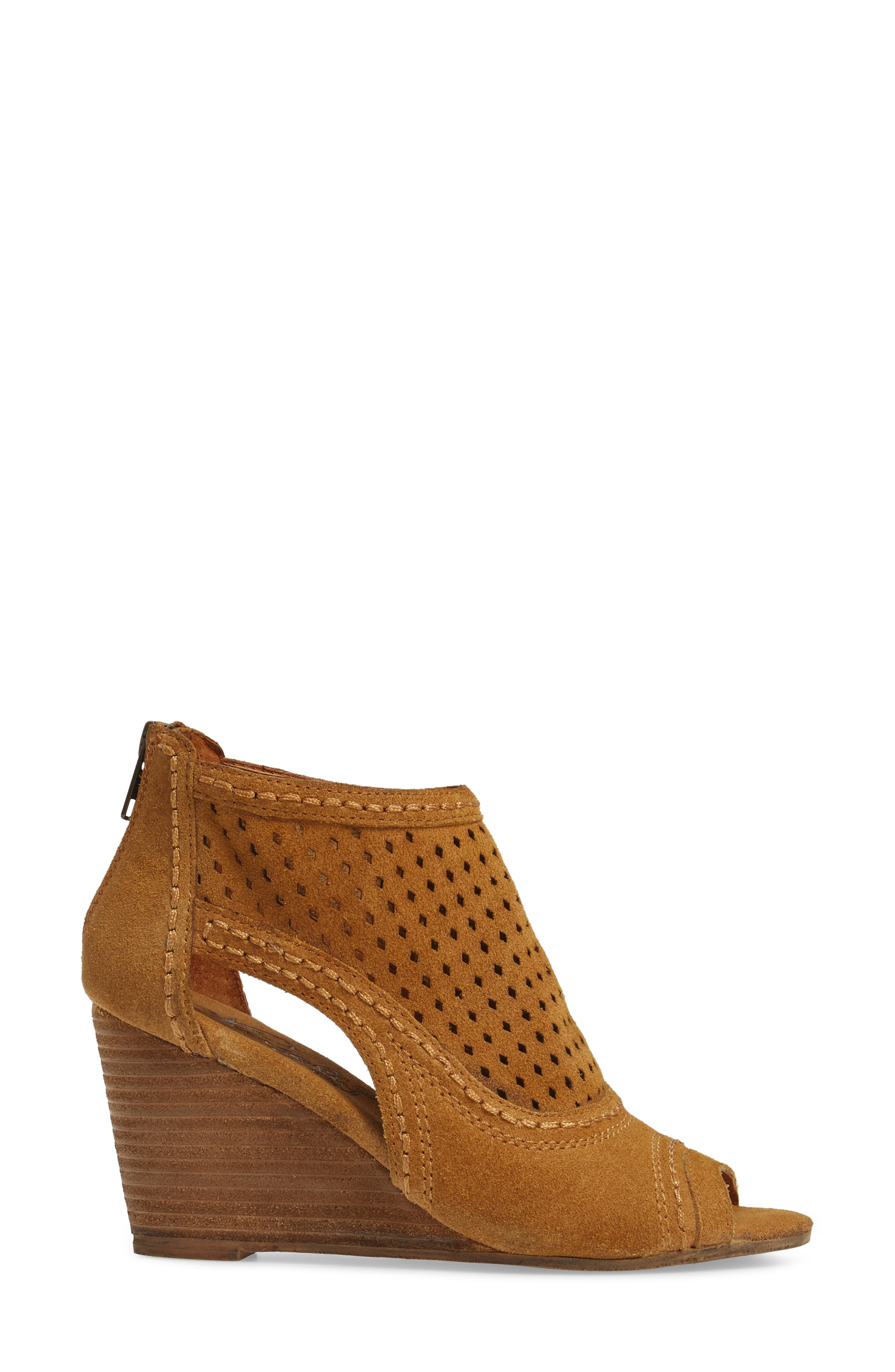 Sharon Perforated Wedge Sandal,                             Alternate thumbnail 3, color,                             Sandcastle Suede