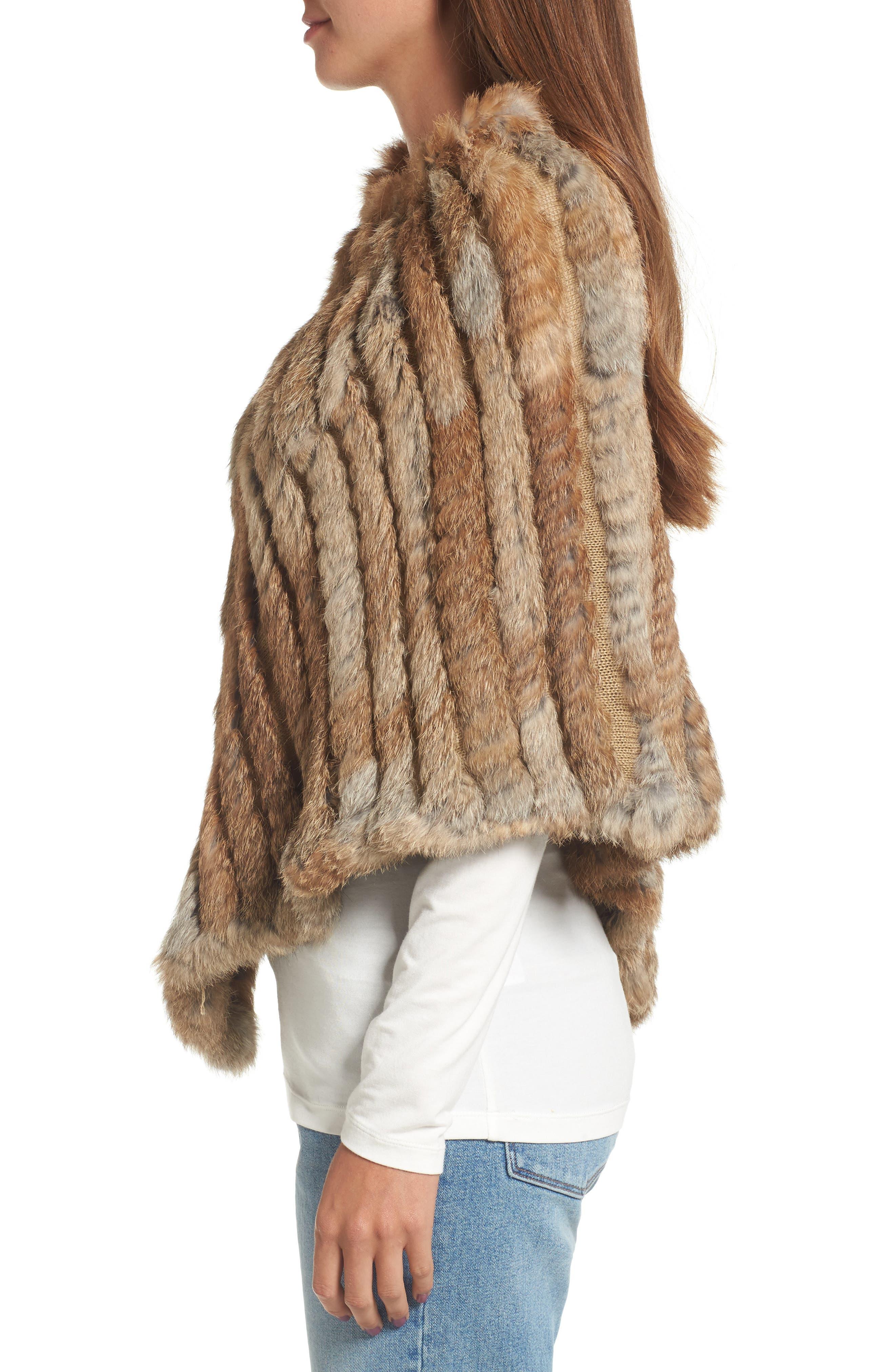 Genuine Rabbit Fur Poncho,                             Alternate thumbnail 4, color,                             Brown/Camel
