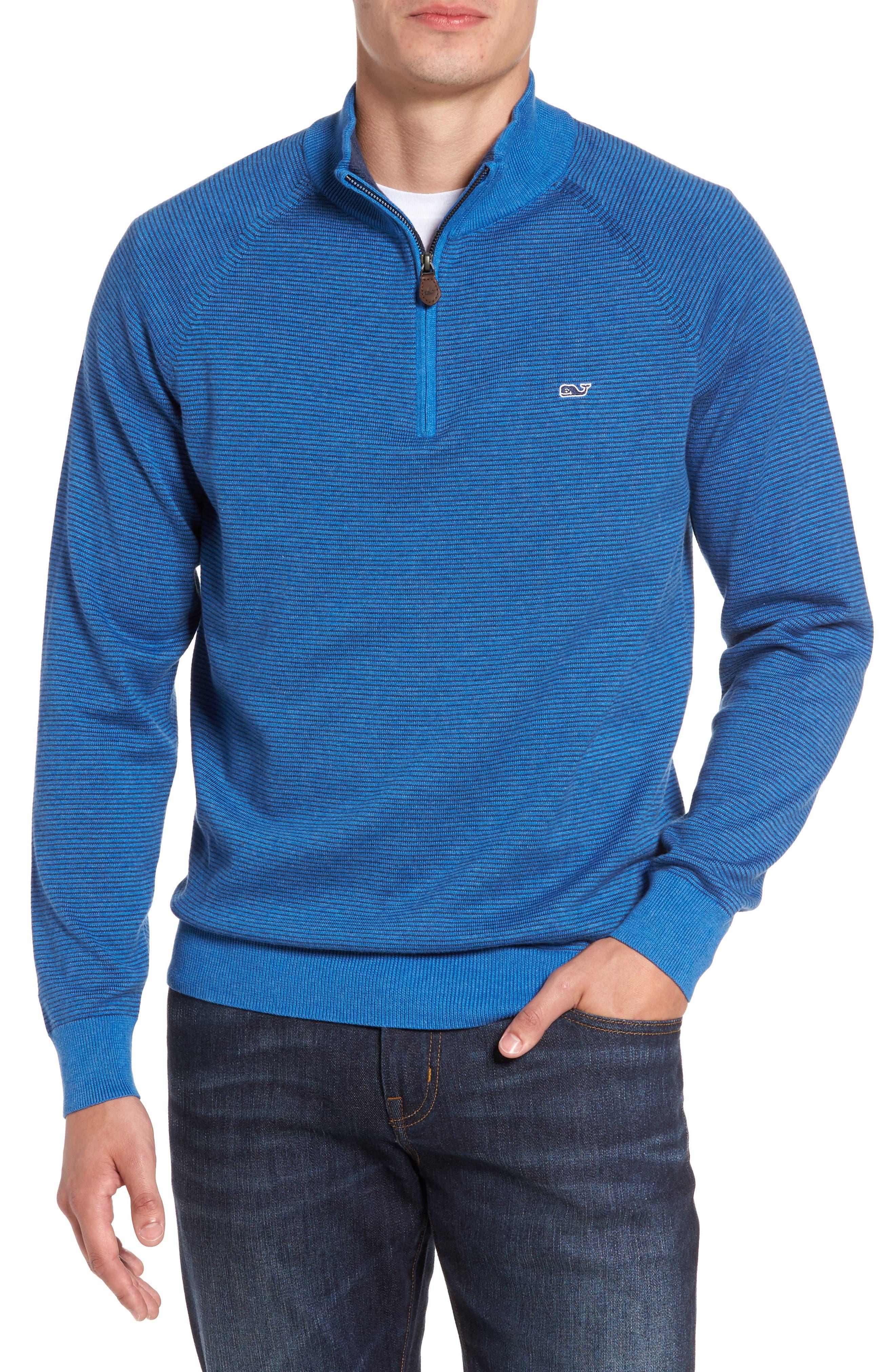 Fine Stripe Quarter Zip Sweater,                         Main,                         color, Regatta Blue