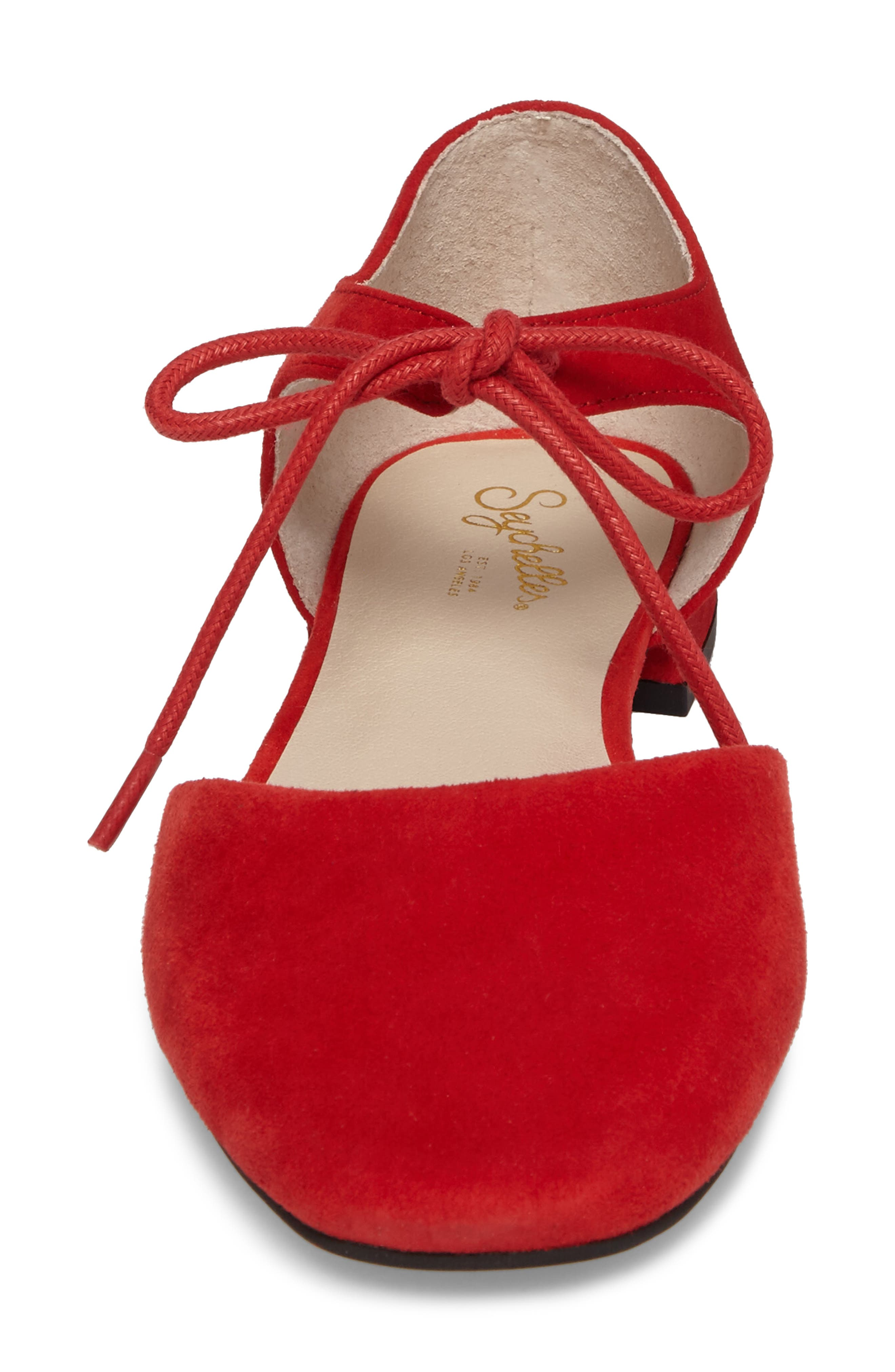 Prospect Tie Front Flat,                             Alternate thumbnail 4, color,                             Red Suede
