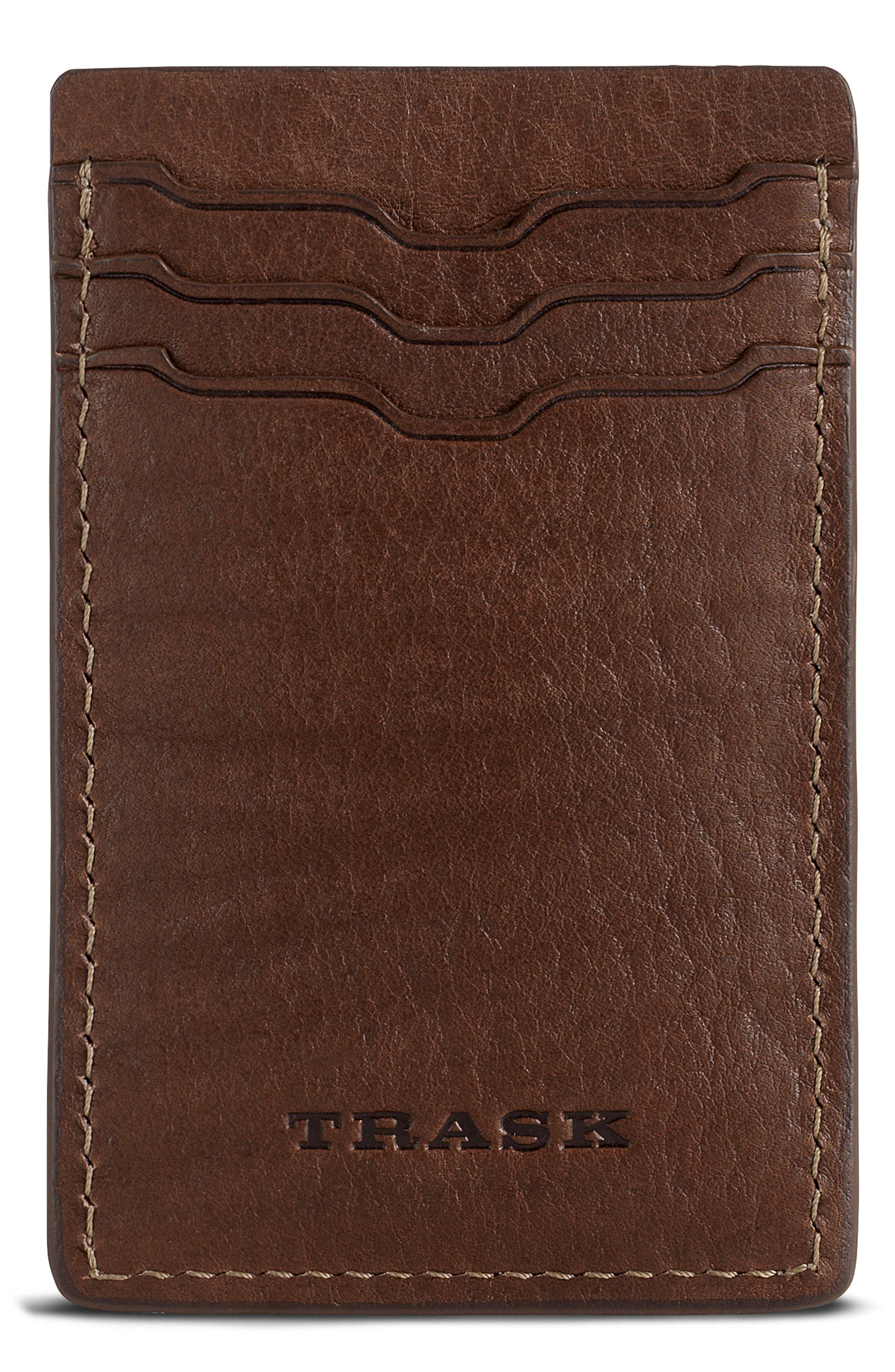 Jackson Money Clip Card Case,                         Main,                         color, Brown Horween American Bison
