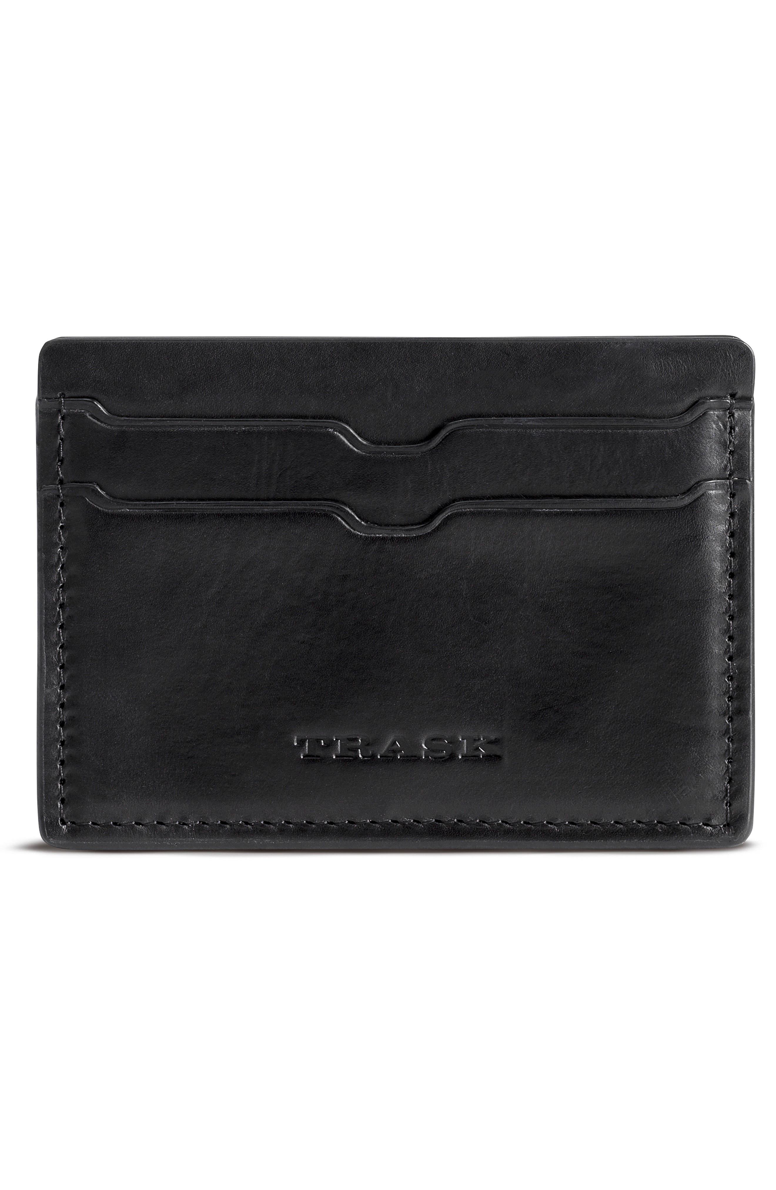 Colton Card Case,                         Main,                         color, Black Waxy Calfskin