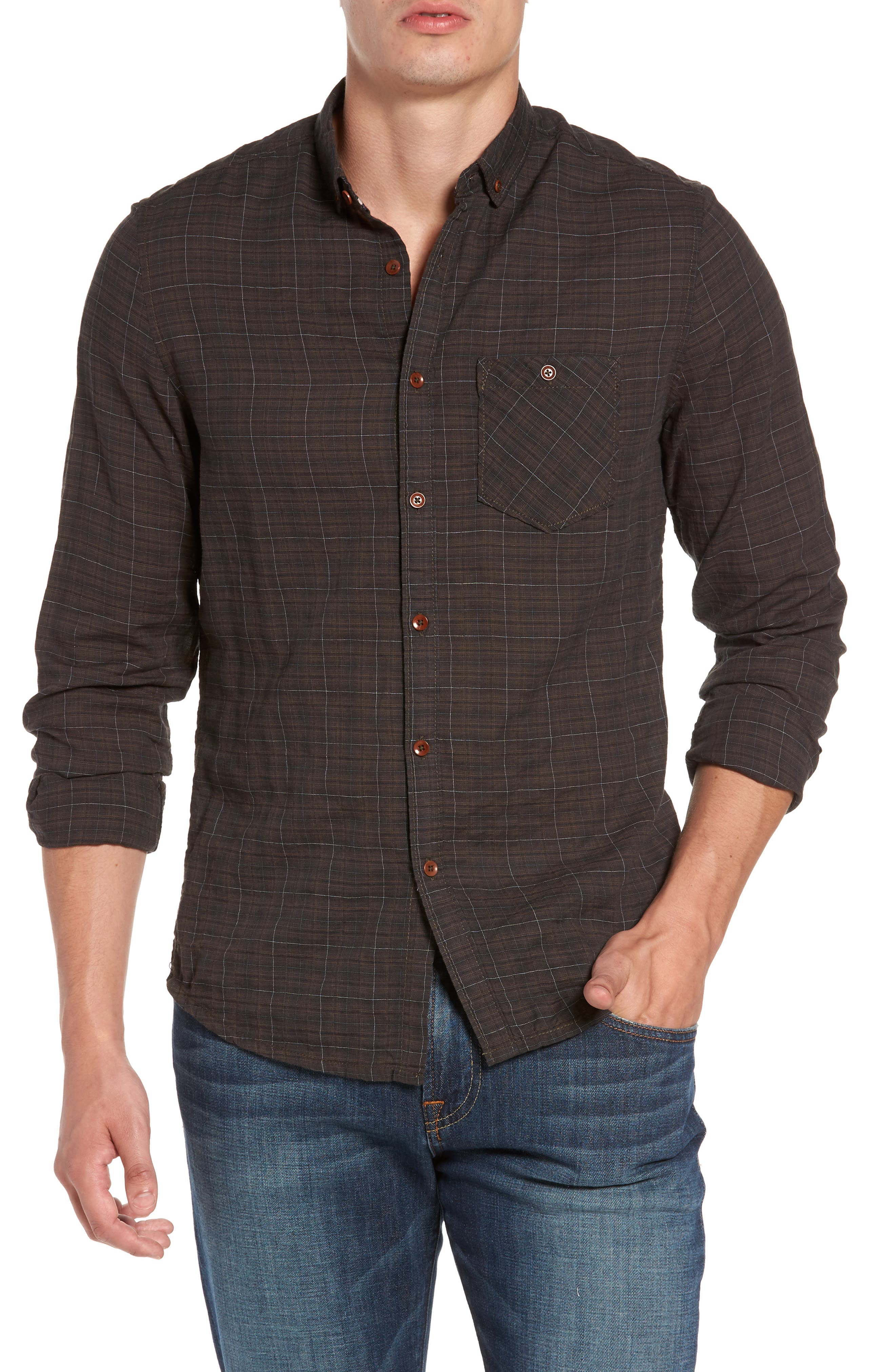 Molera Pucker Plaid Sport Shirt,                         Main,                         color, Asphalt