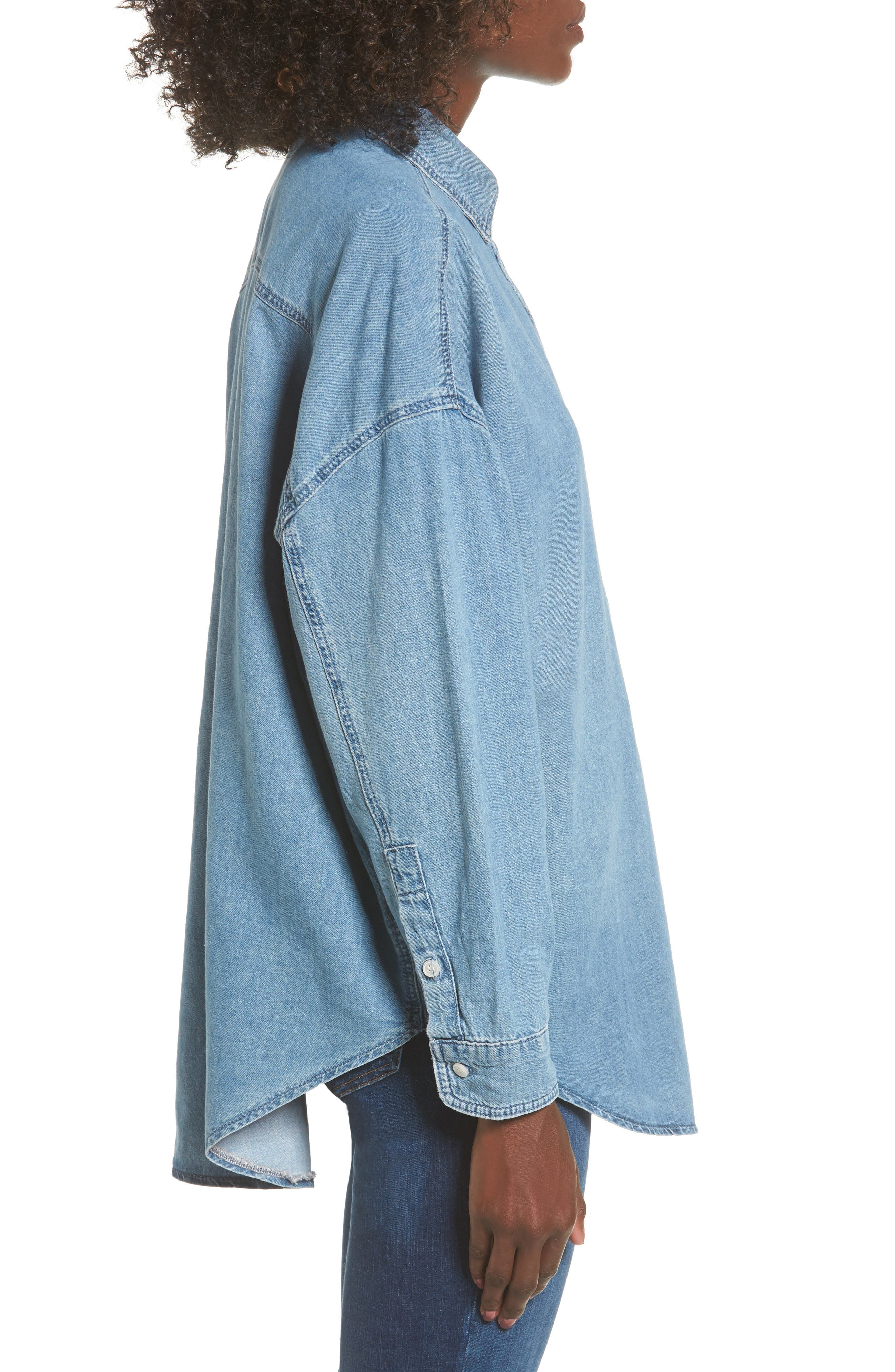 Alternate Image 3  - Topshop Elton Oversized Denim Shirt