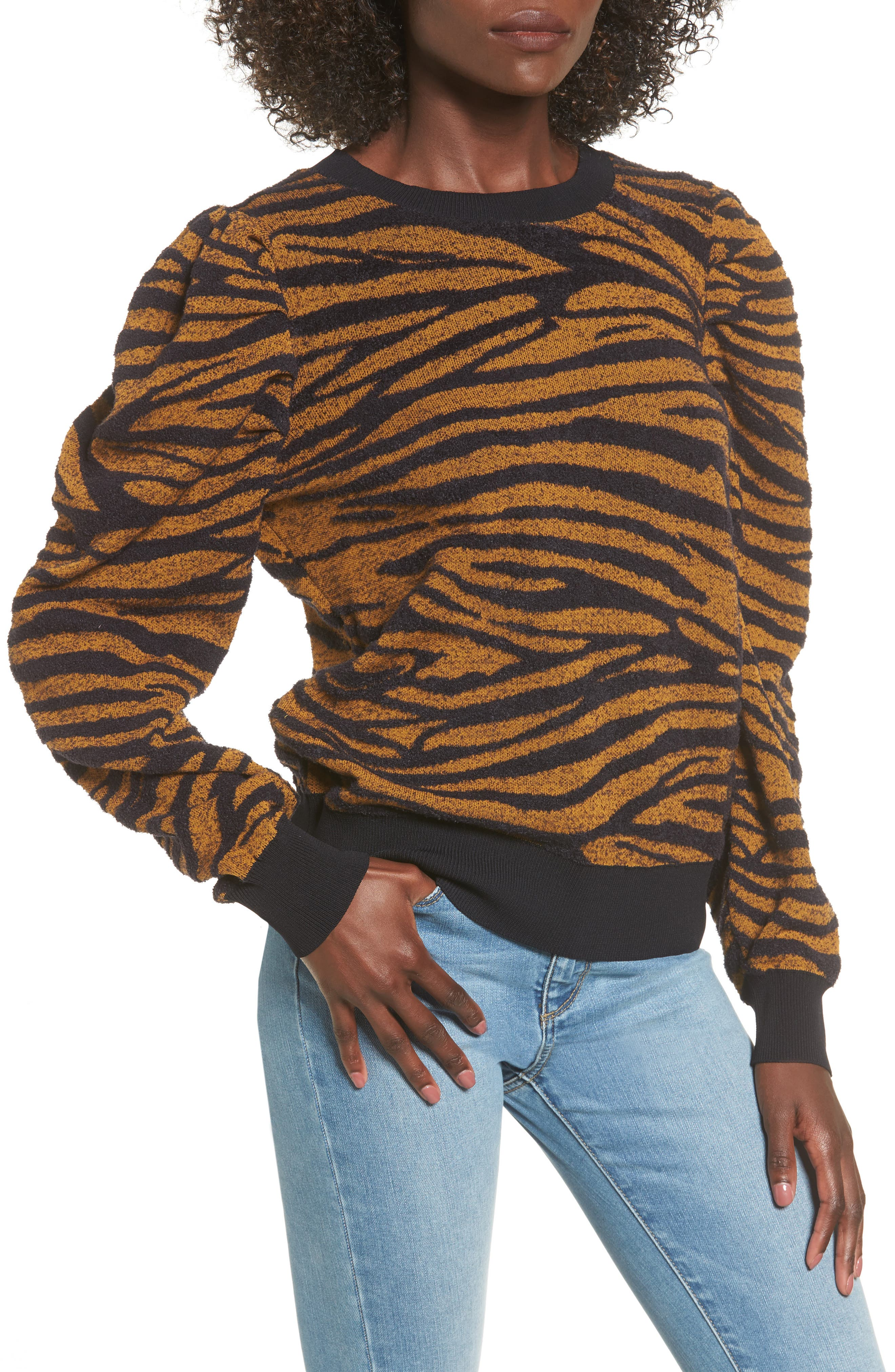 Puff Sleeve Sweater,                         Main,                         color, Brown Buckthorn Abstract Zebra