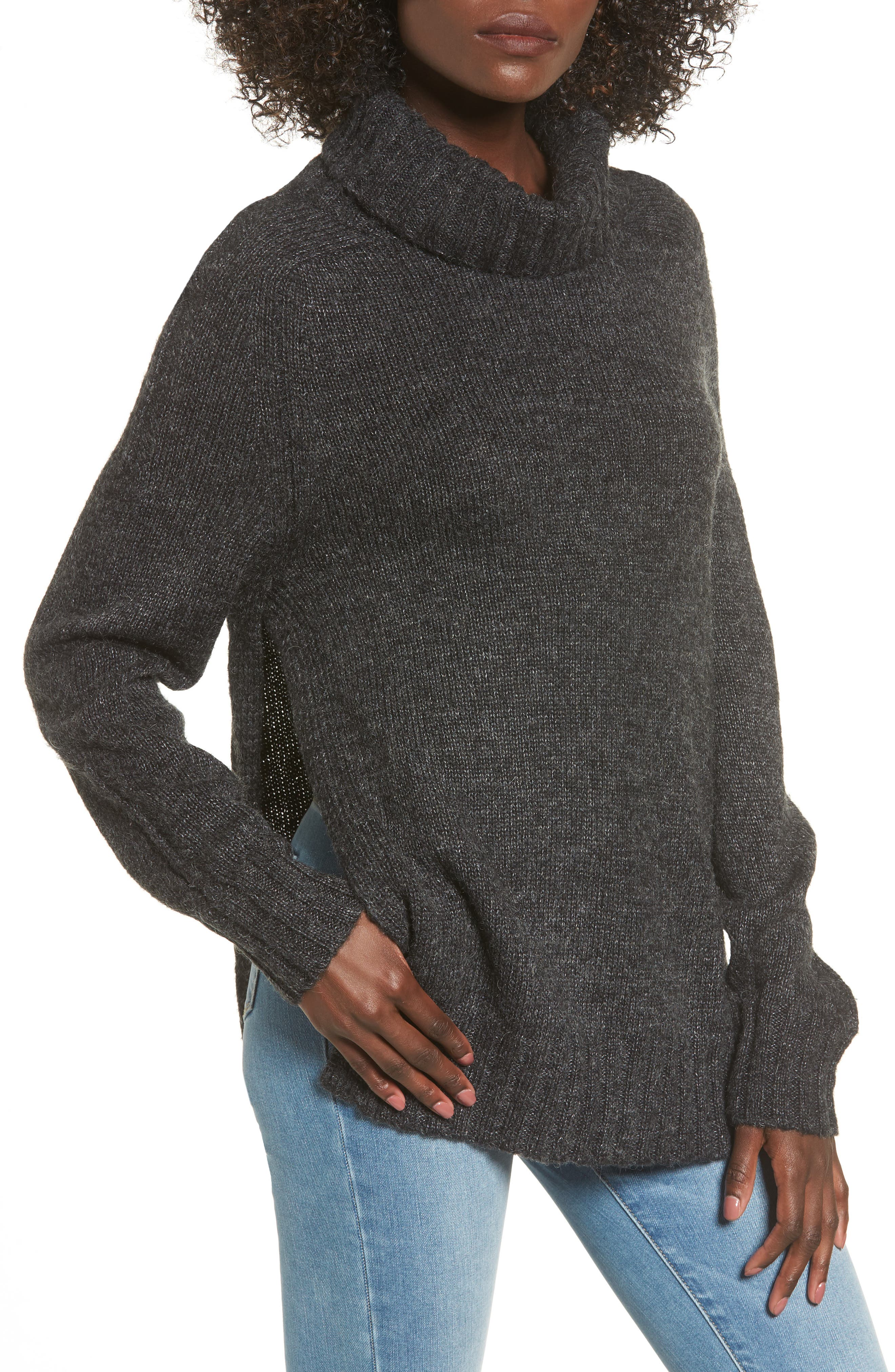 Stacy Turtleneck Sweater,                             Main thumbnail 1, color,                             Charcoal