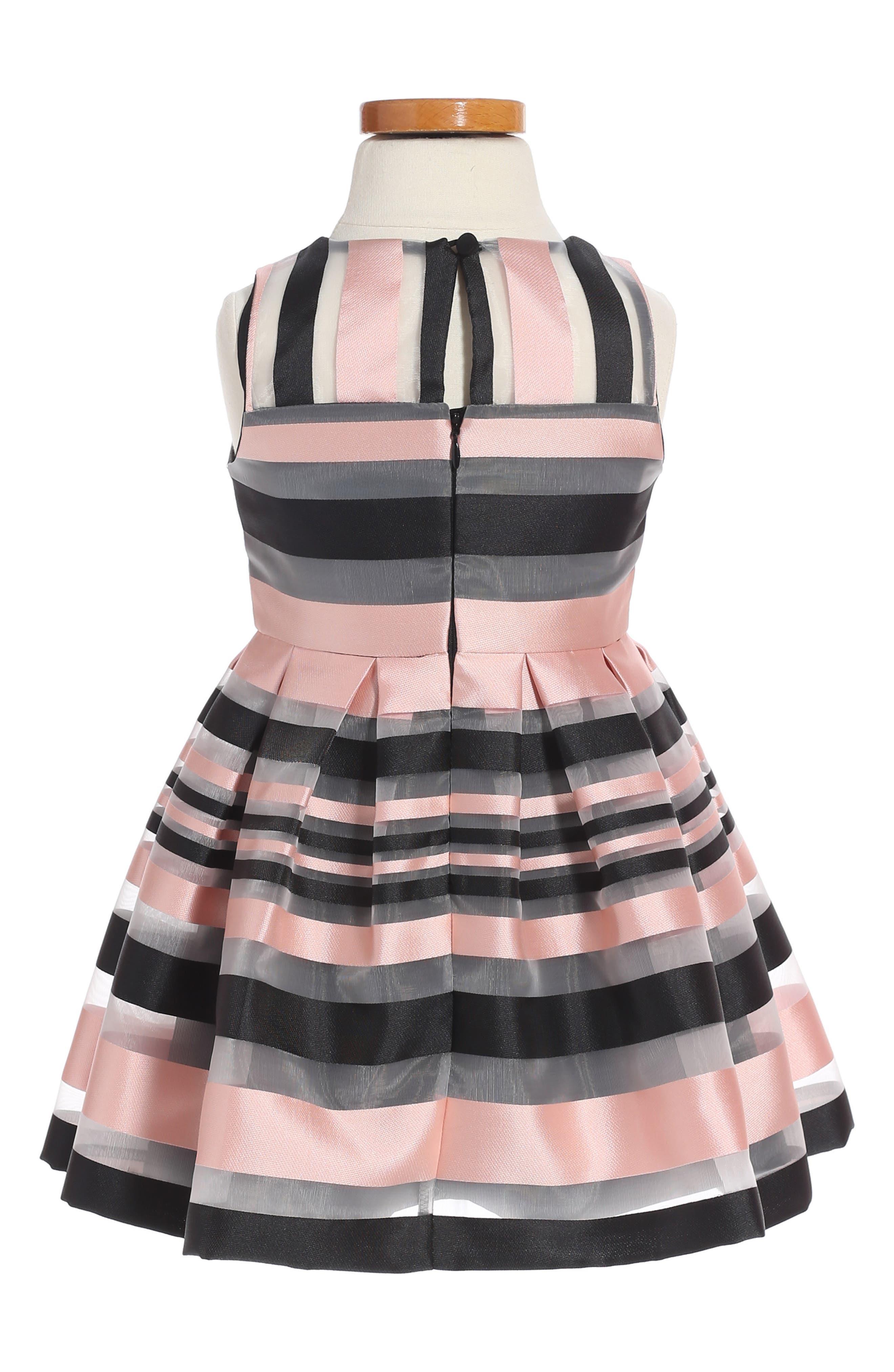 Illusion Stripe Sleeveless Dress,                             Alternate thumbnail 2, color,                             Blush/ Black