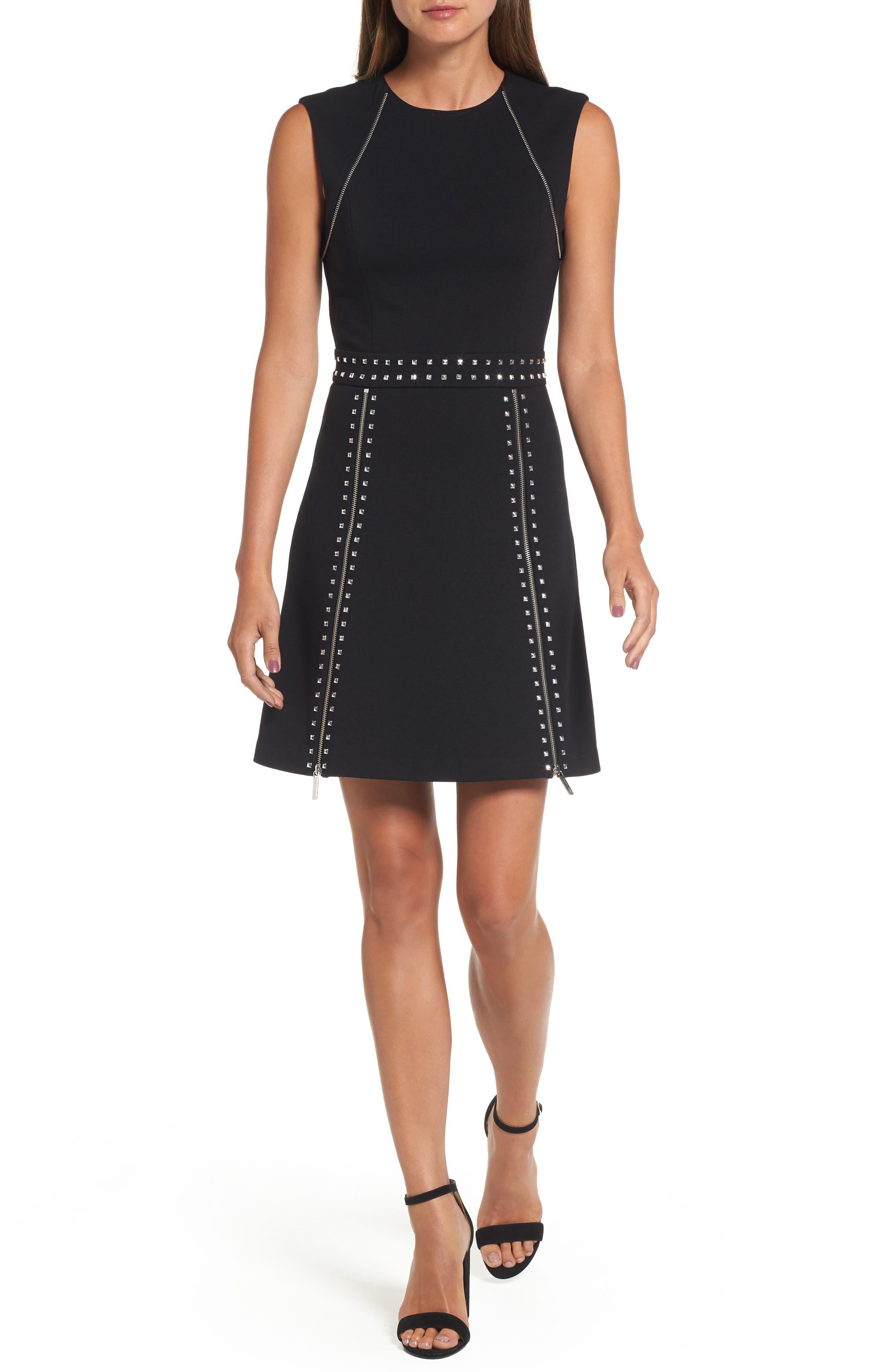 Pyramid Stud Zipper Detail Dress,                         Main,                         color, Black