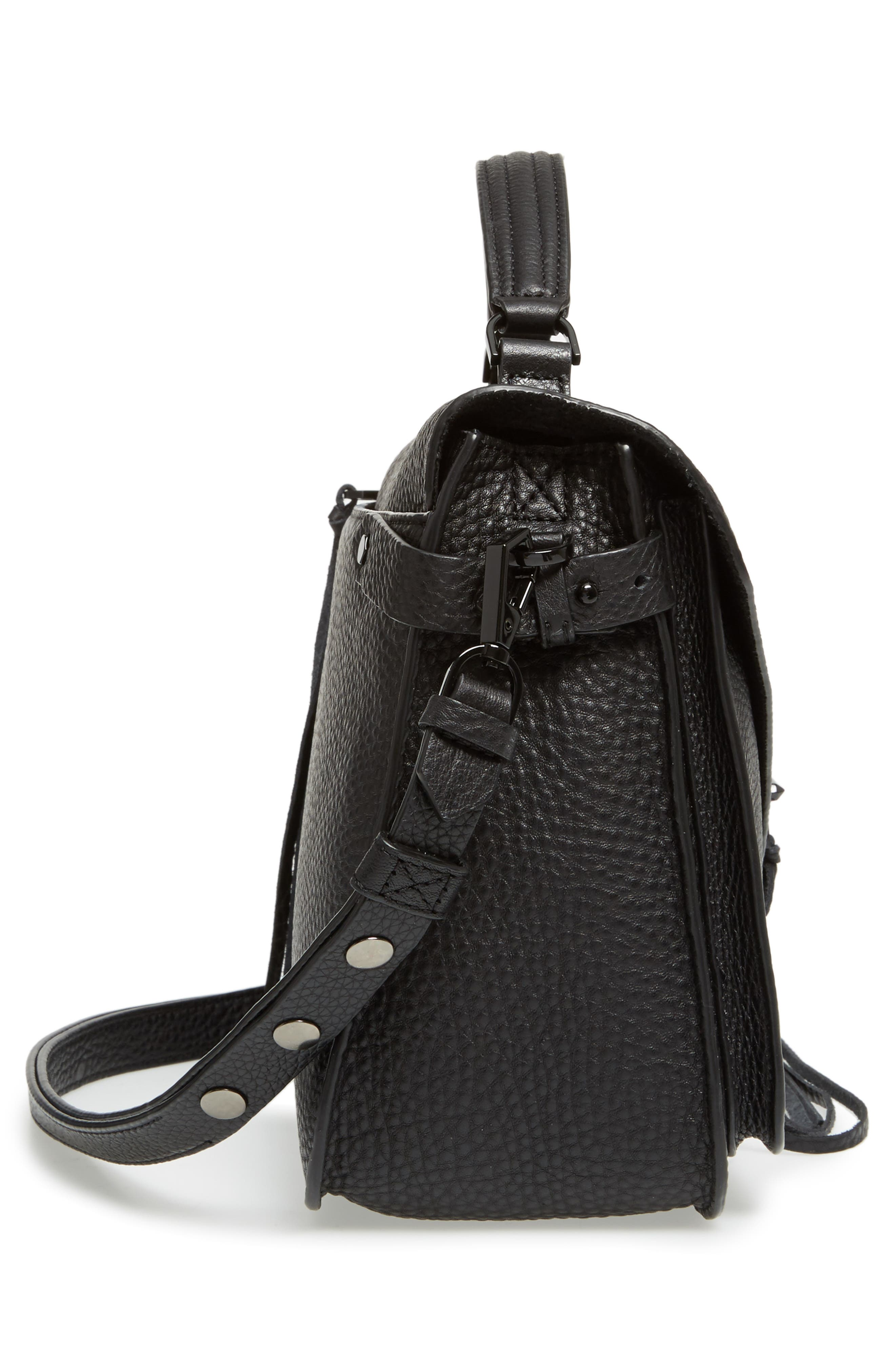 Darren Leather Messenger Bag,                             Alternate thumbnail 5, color,                             Black