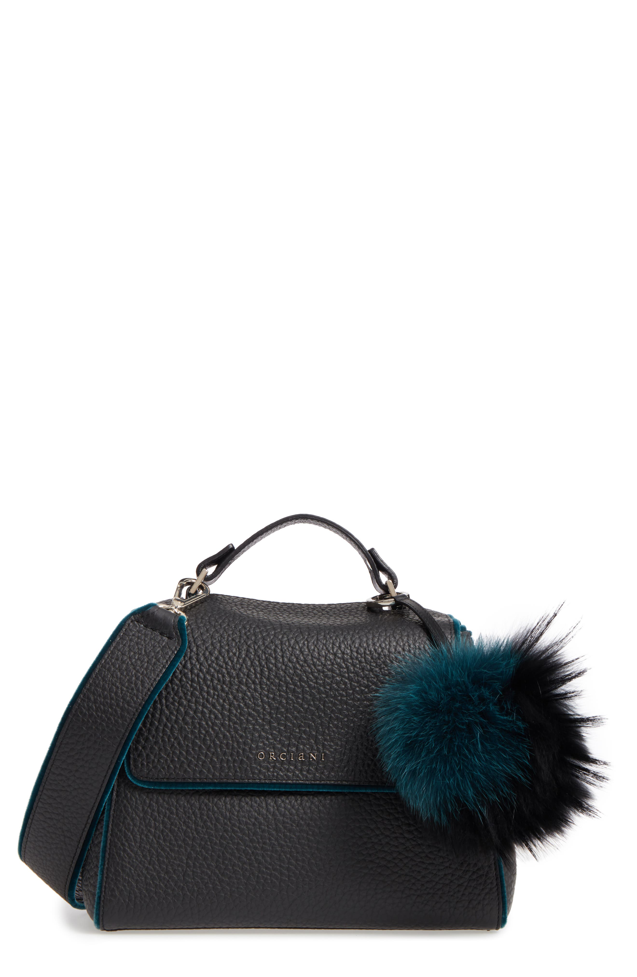 ORCIANI Small Sveva Soft Leather Top Handle Satchel with Genuine Fur Bag Charm